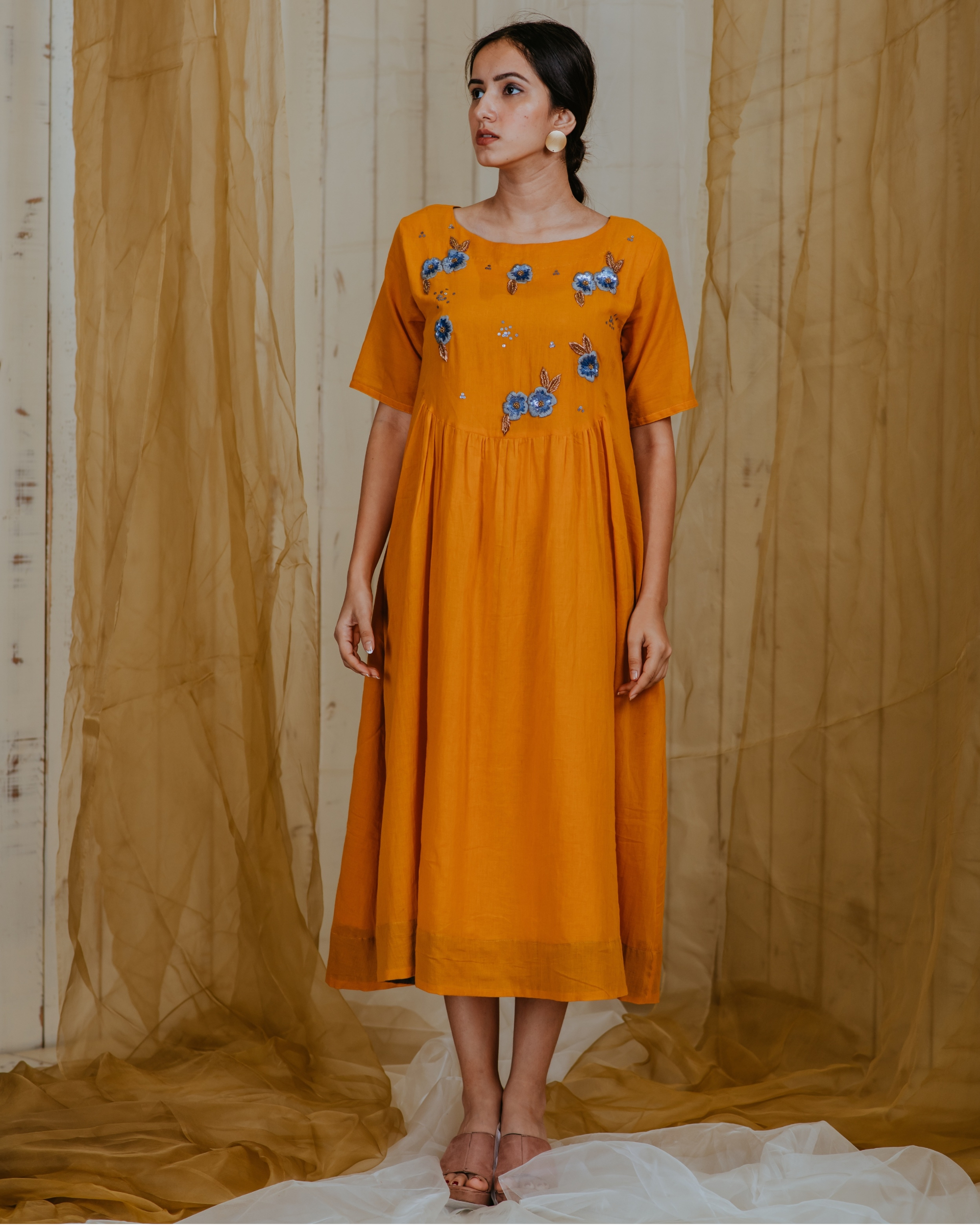 Amber grey embroidered tunic
