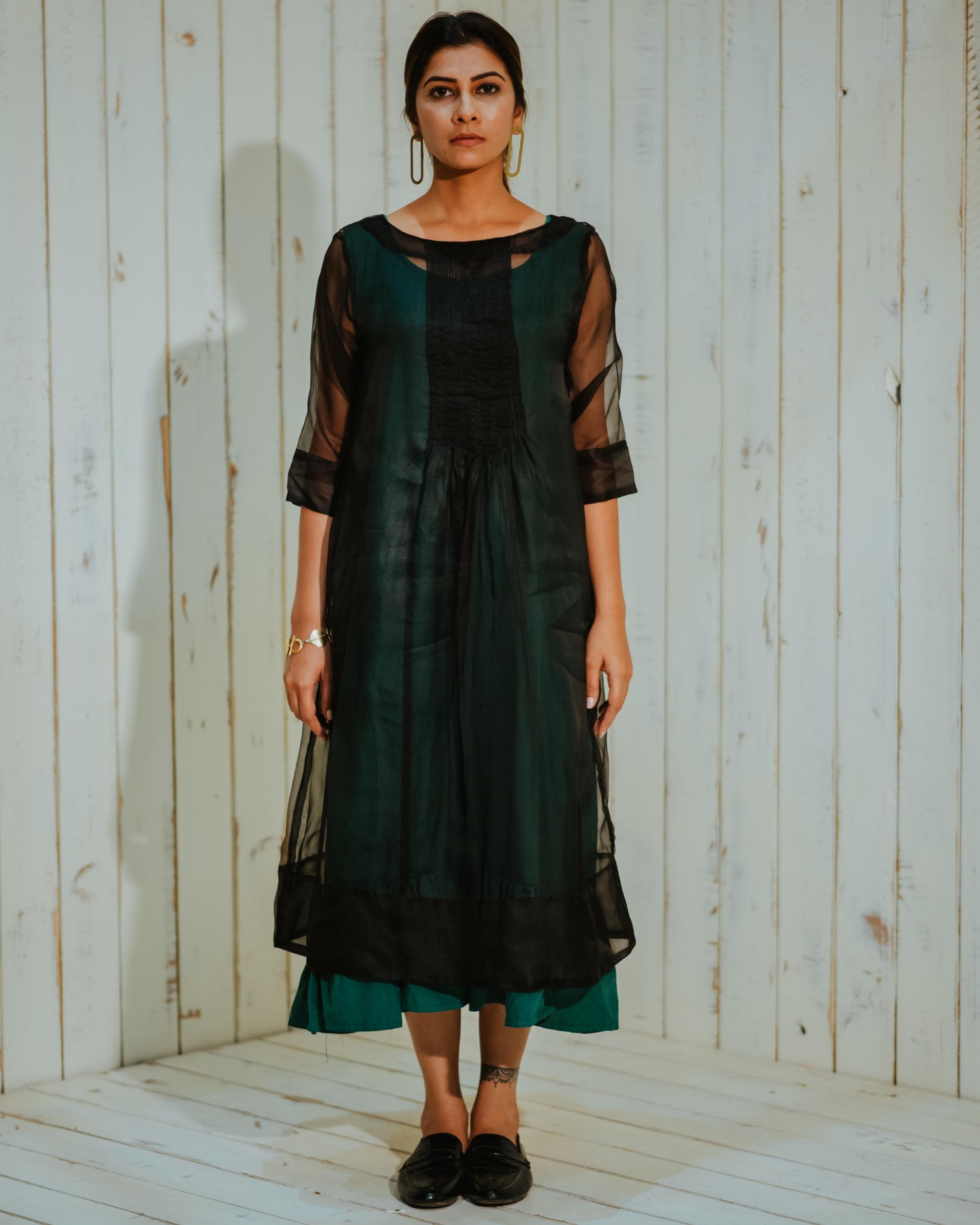 Black organza pin tuck dress set-set of two
