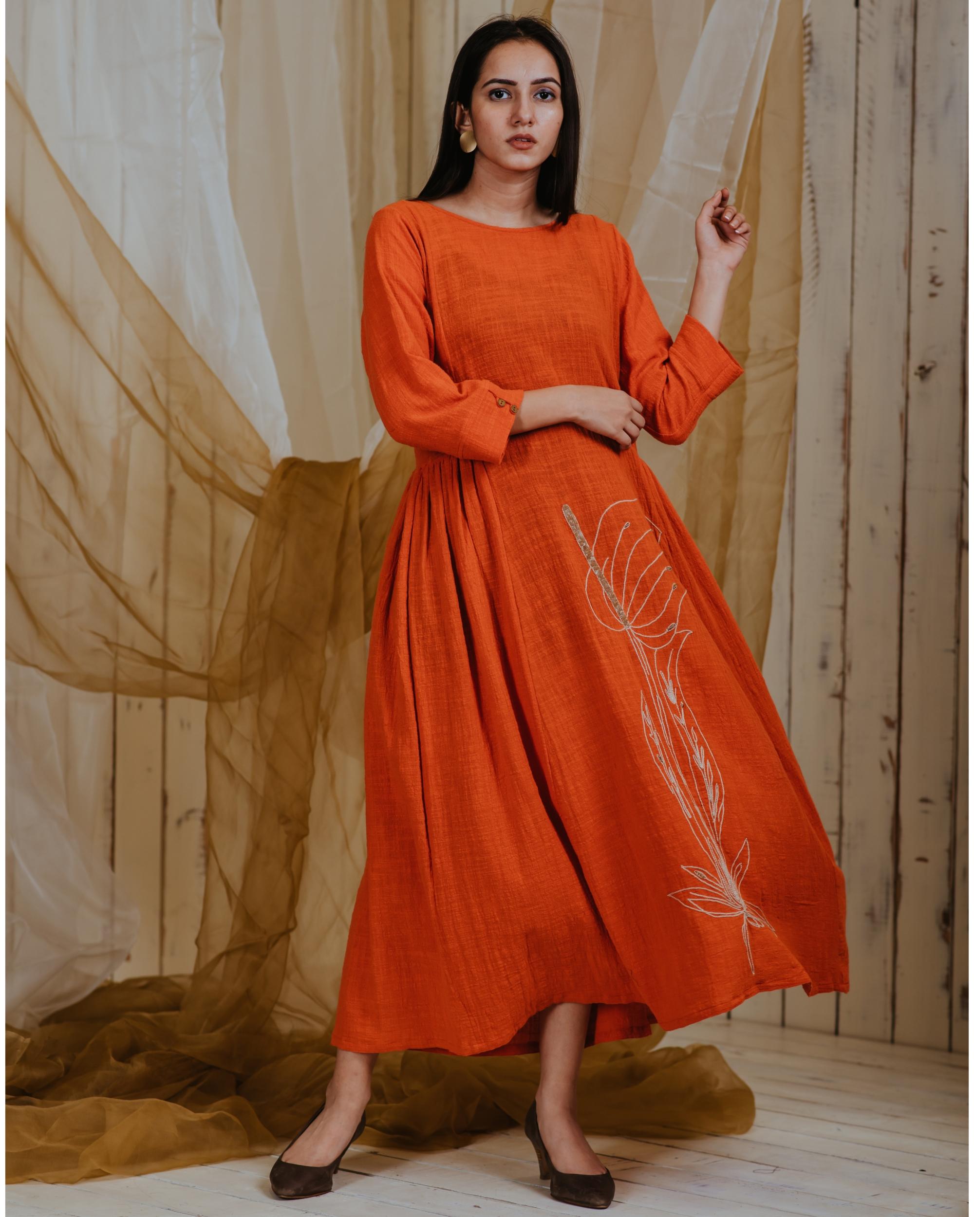Tangerine anthurium dress