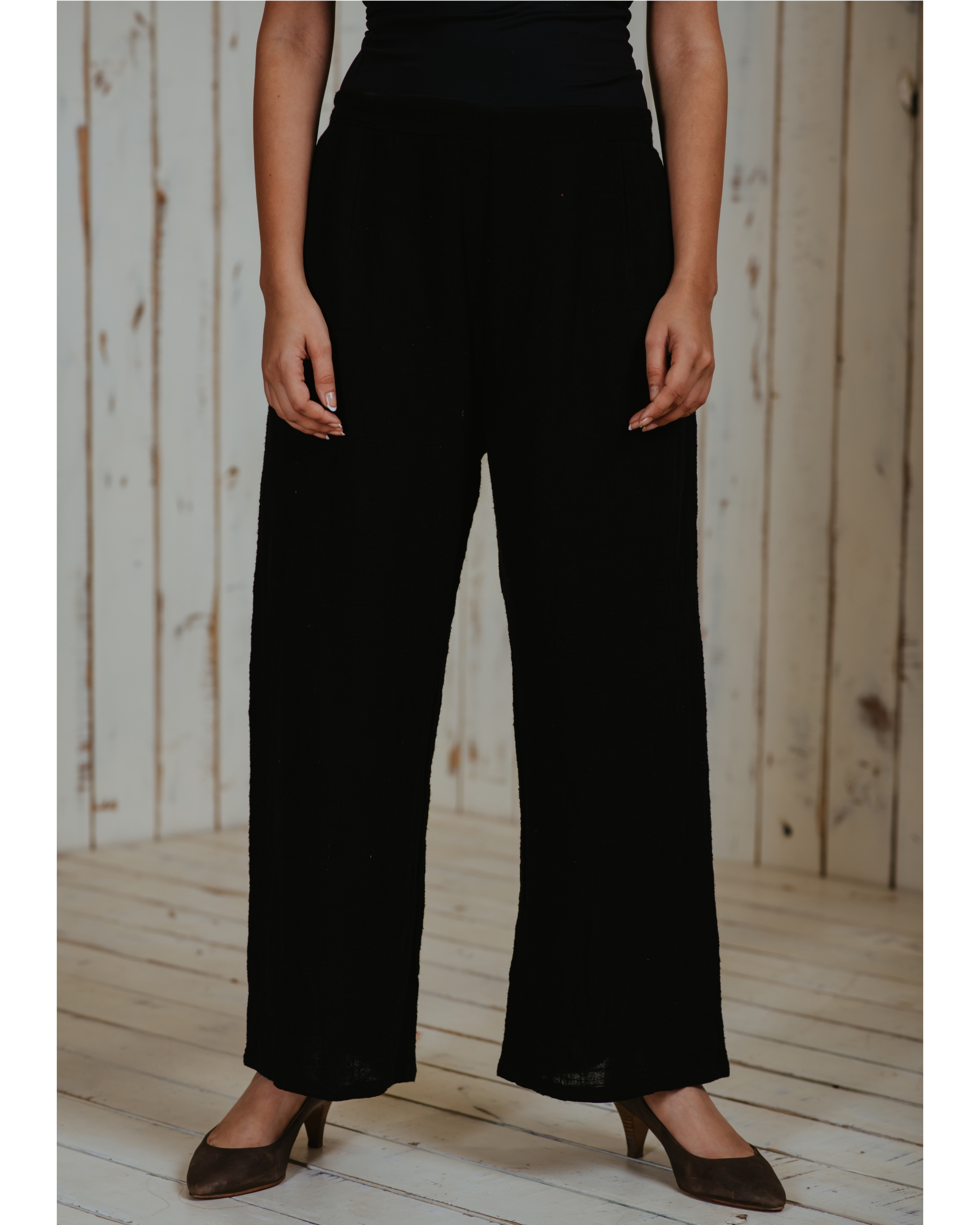 Black khadi pants