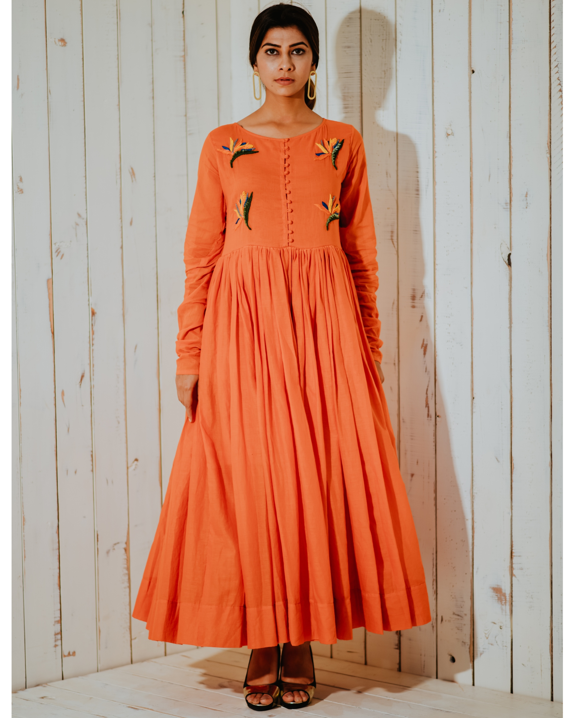 Tangerine lost paradise embroidered maxi