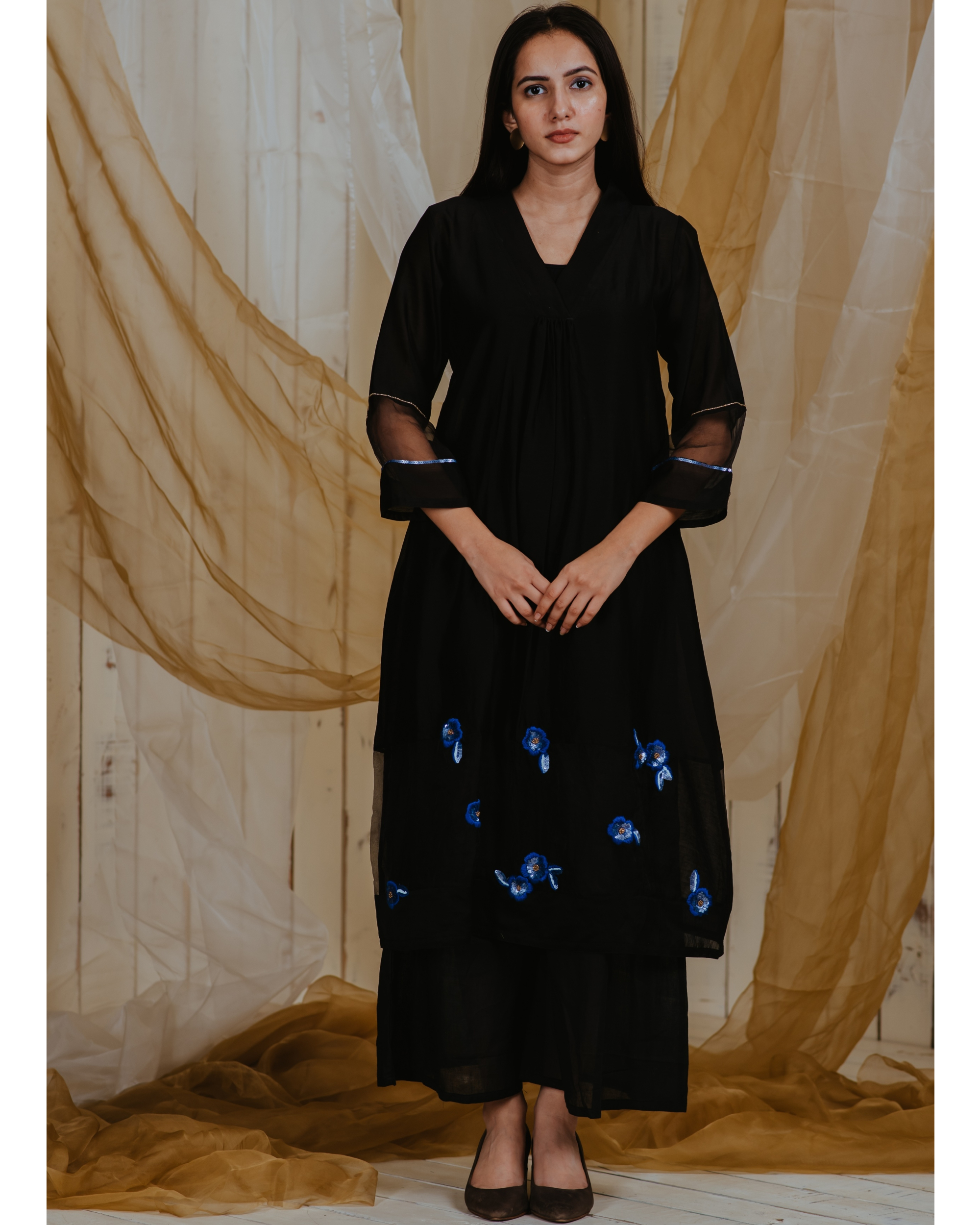 Black moonlit blossoms kurta