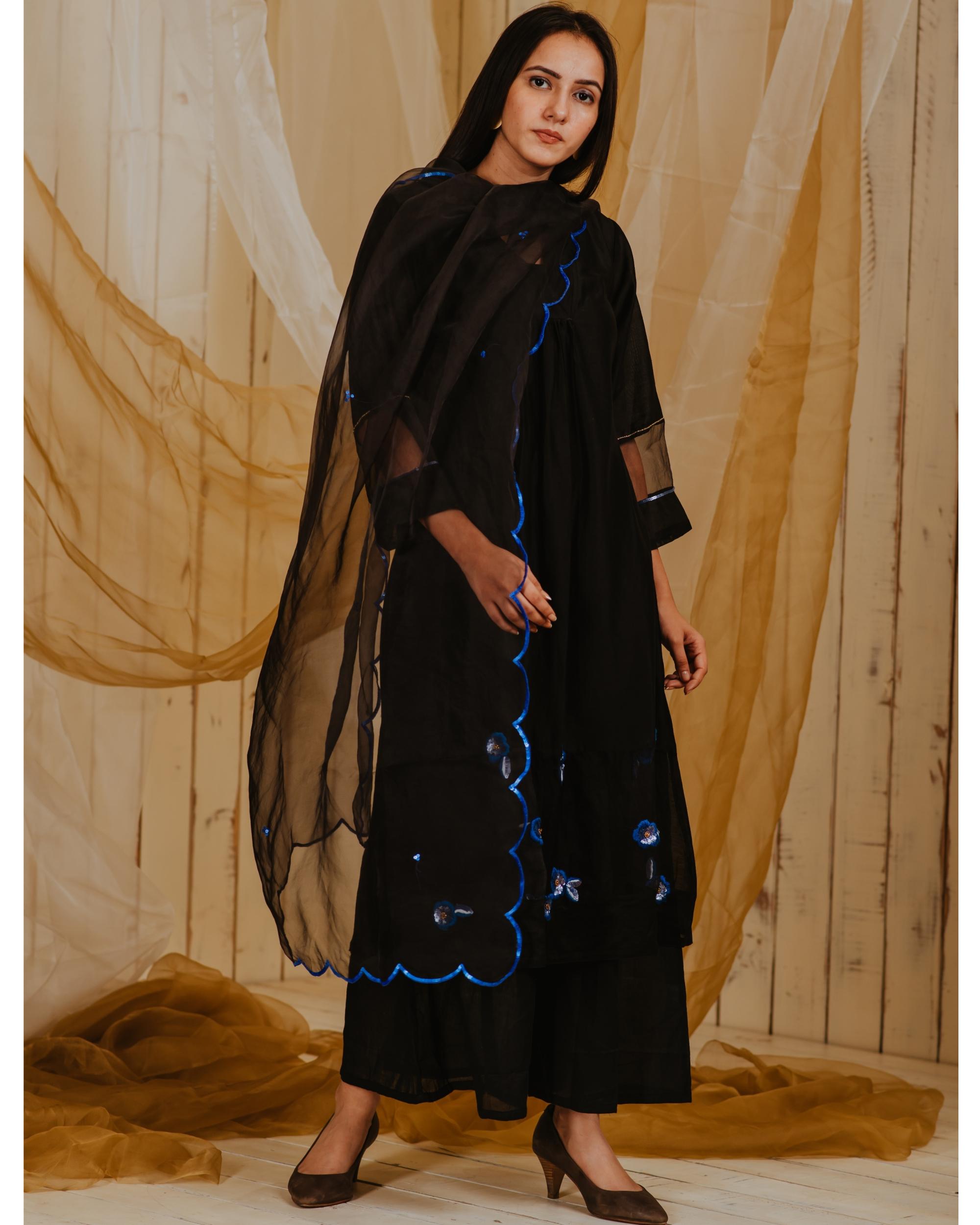 Black blue embroidered organza dupatta
