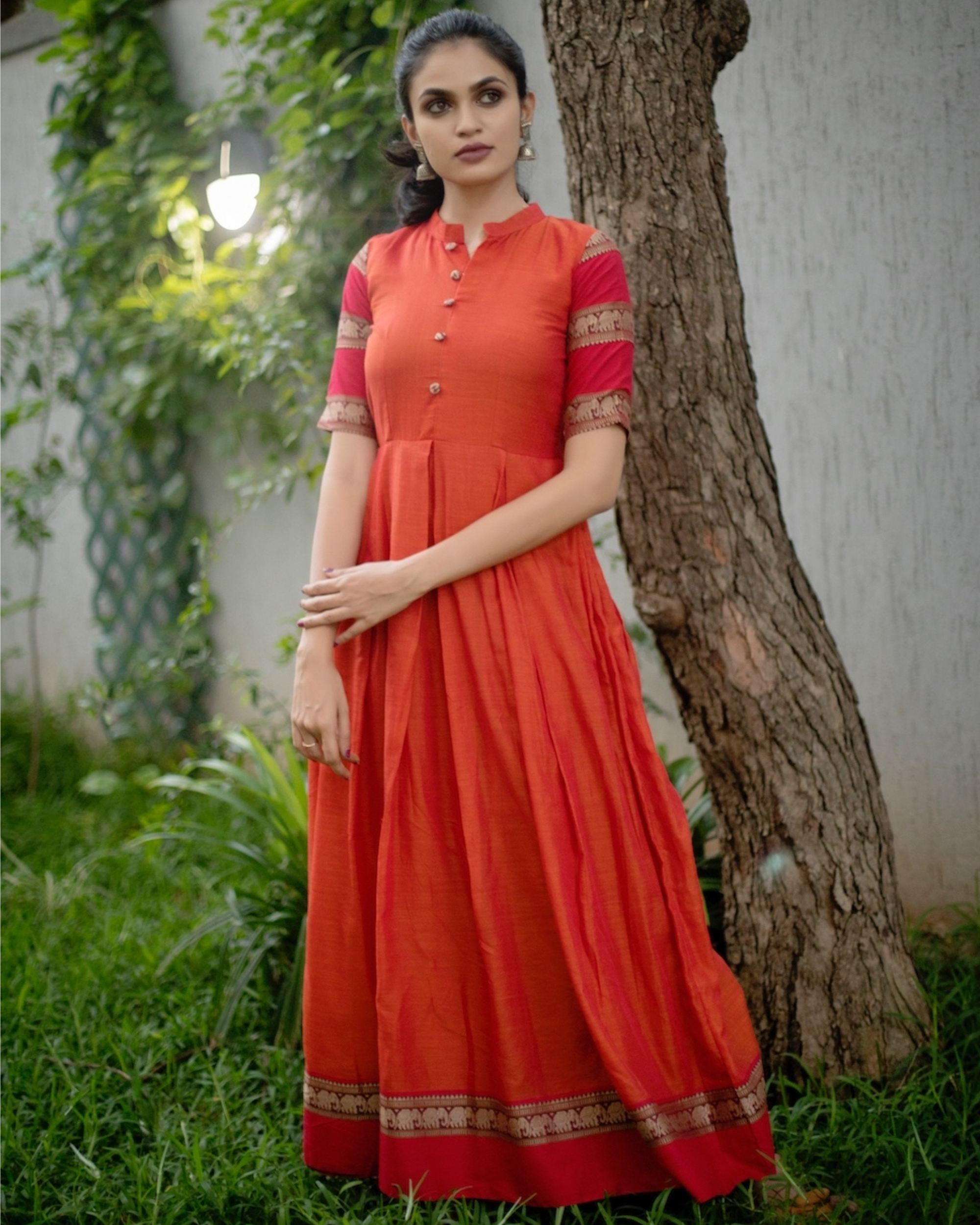 Orange box pleated narayanpet handloom dress