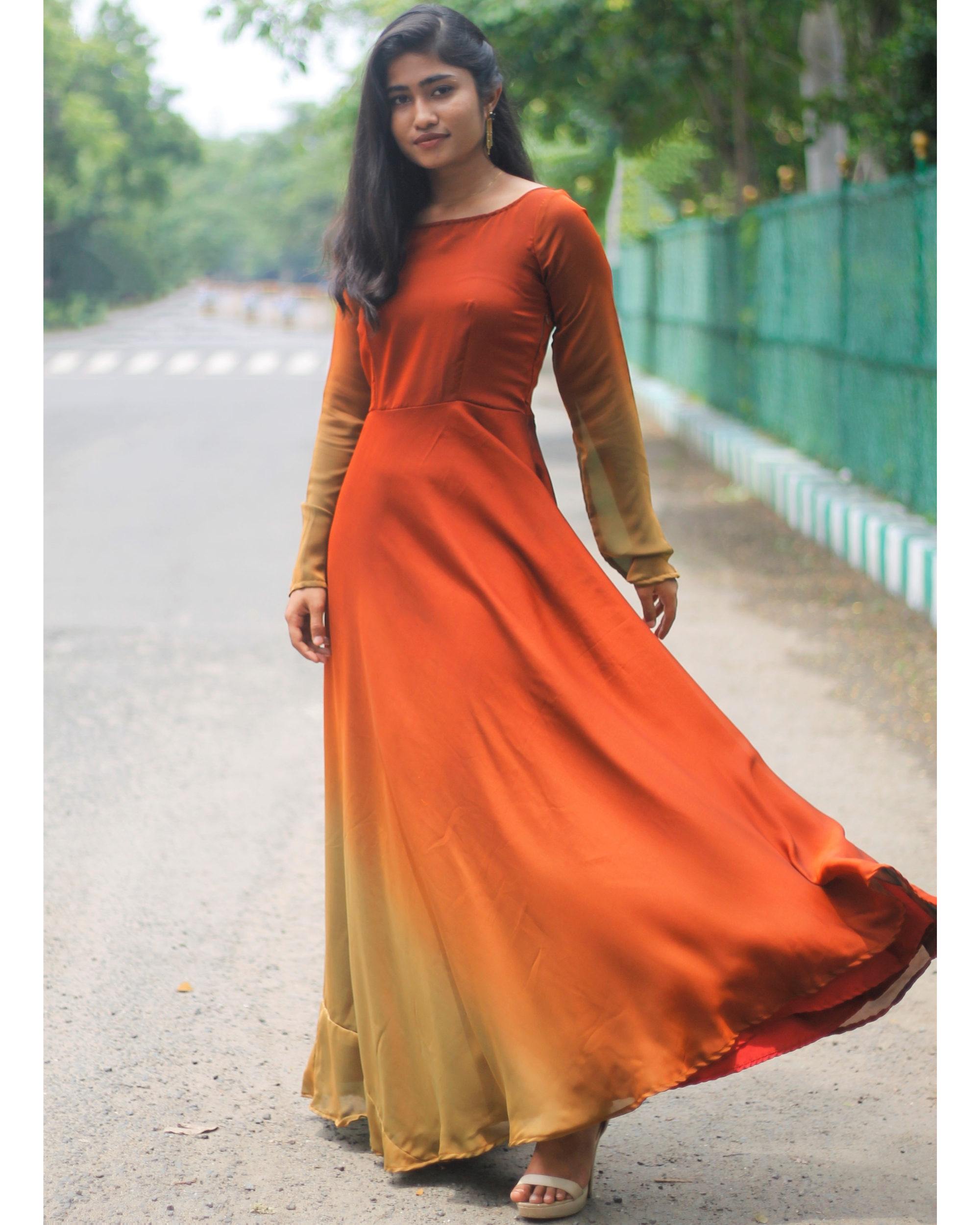 Ombre rust brown fit and flare dress