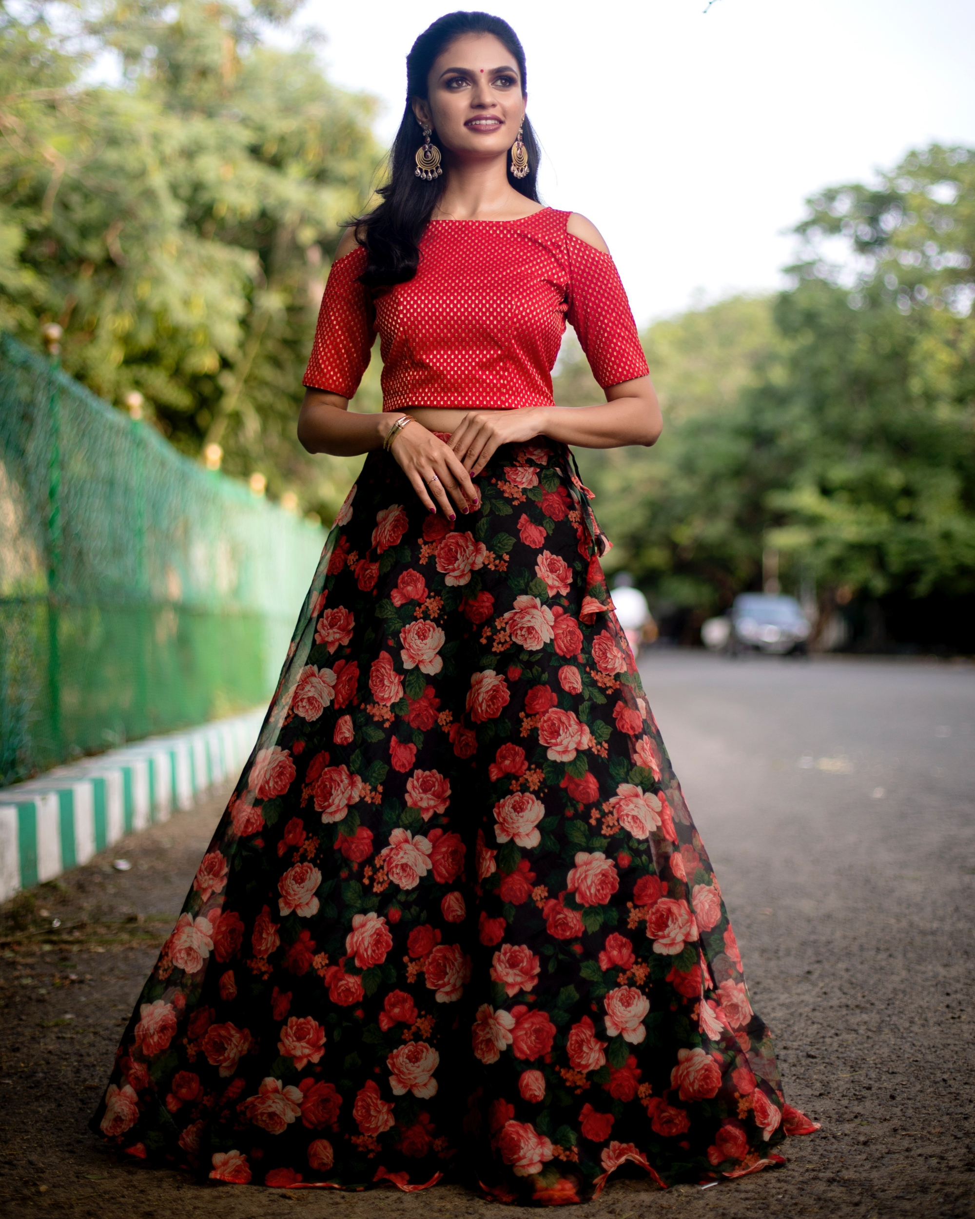 Red and black floral printed organza skirt with banarasi crop top-set of two