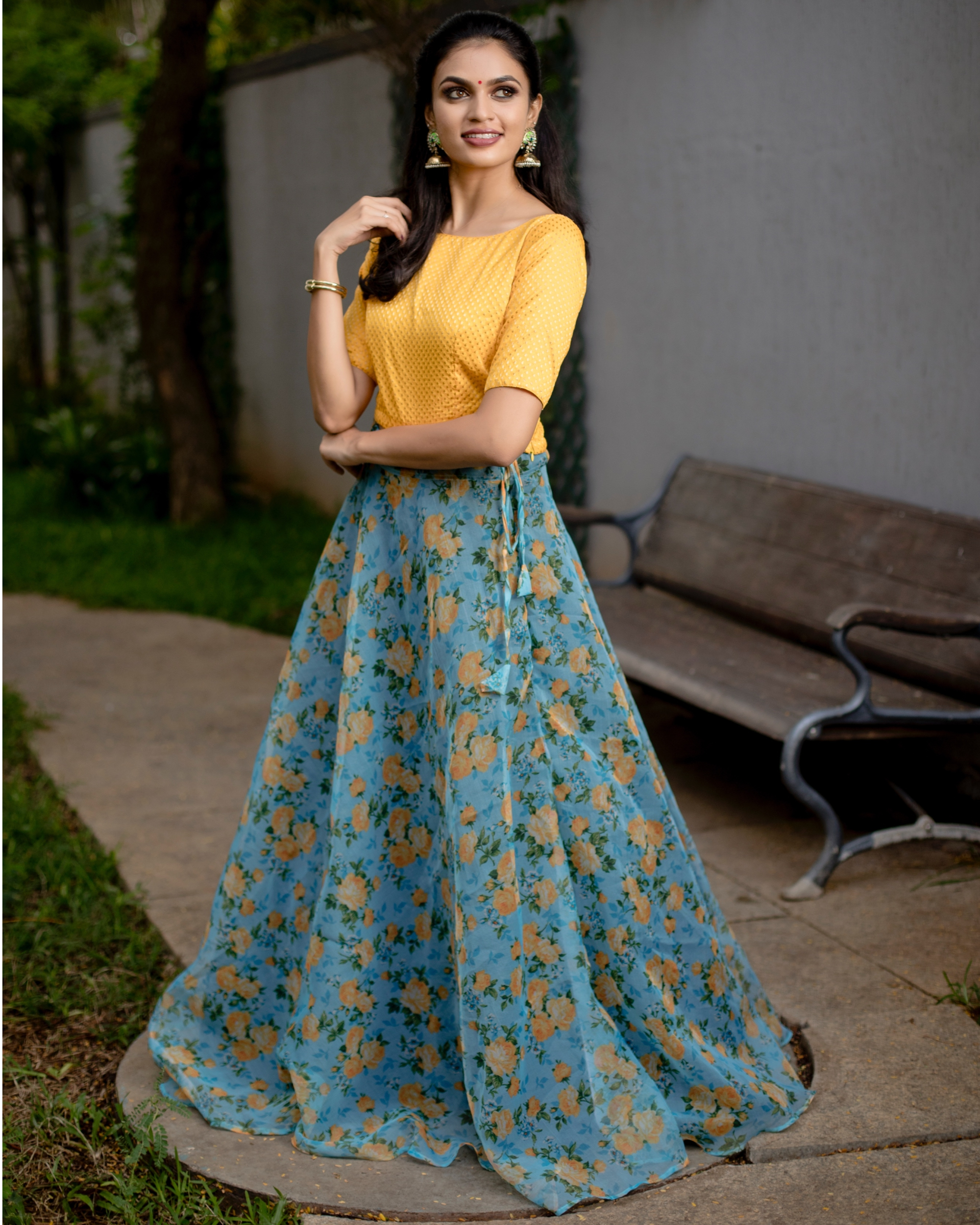 Yellow and blue floral printed organza skirt with banarasi crop top-set of two