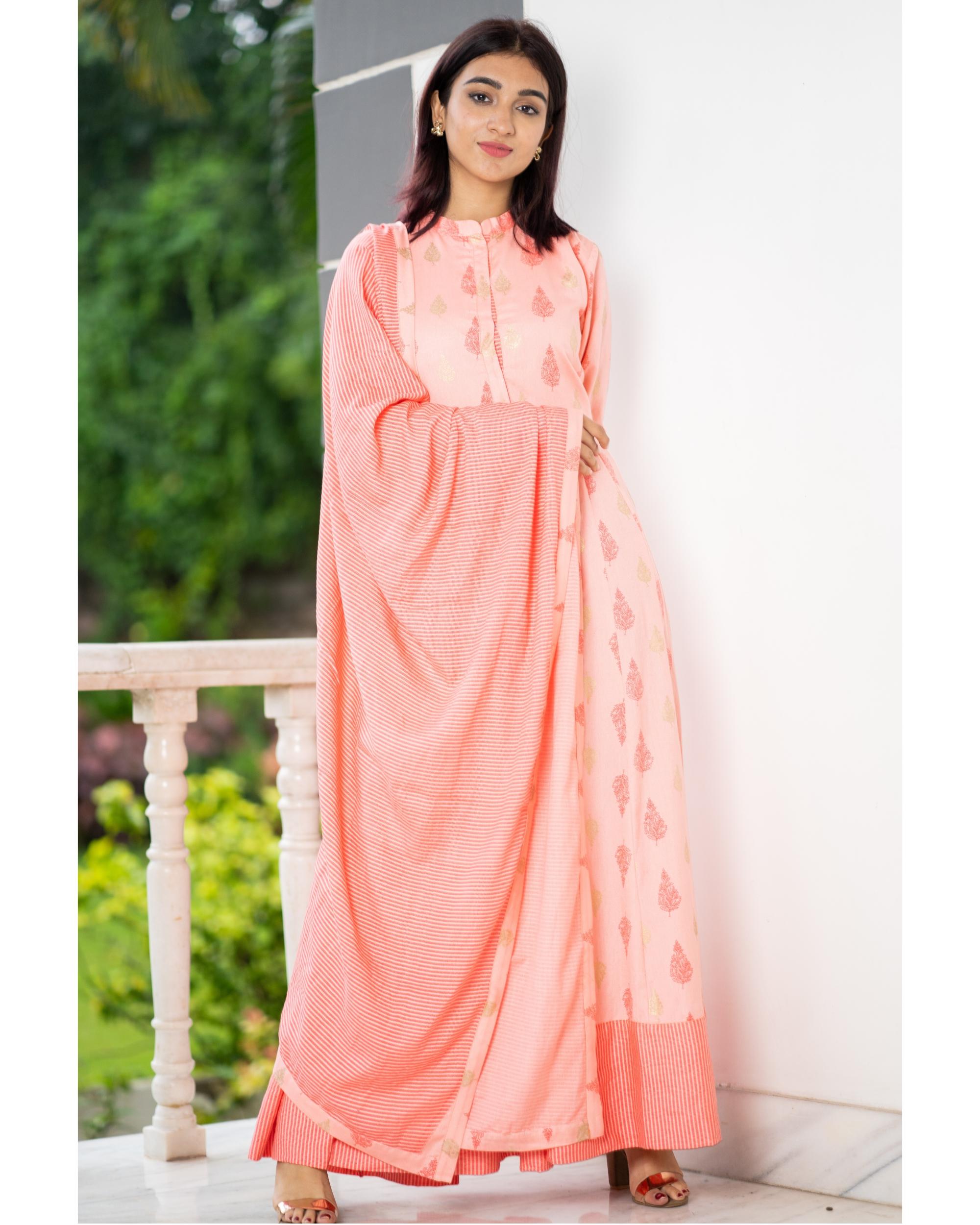 Salmon peach kalidaar dress with dupatta - set of two