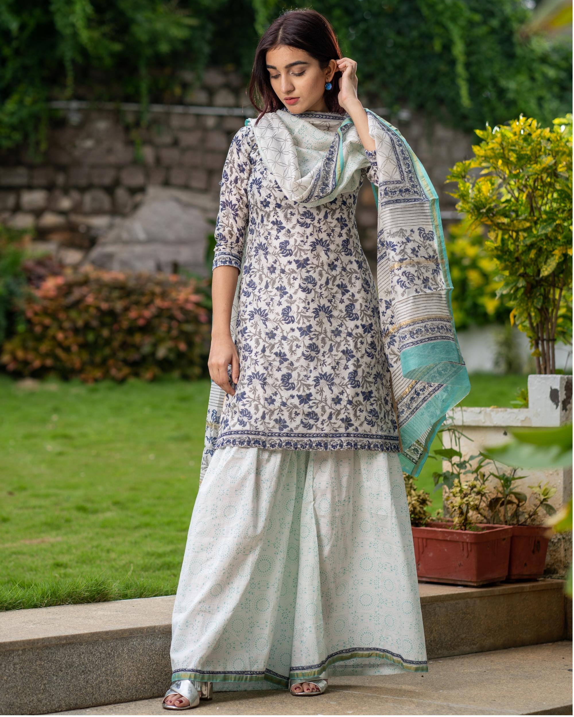 Block printed chanderi kurta with gharara pants and dupatta - set of three
