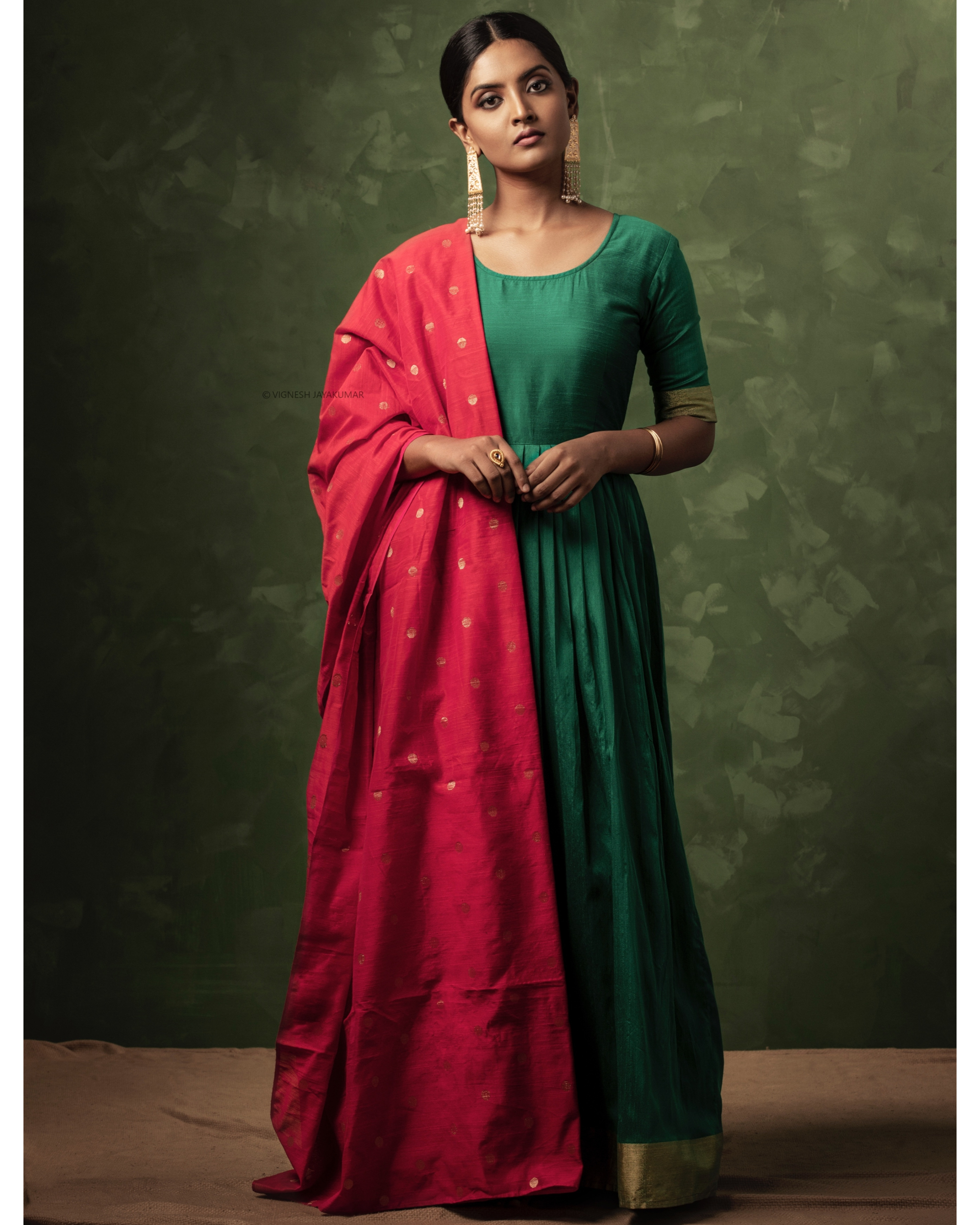 Emerald green and gold zari dress with dupatta-set of two