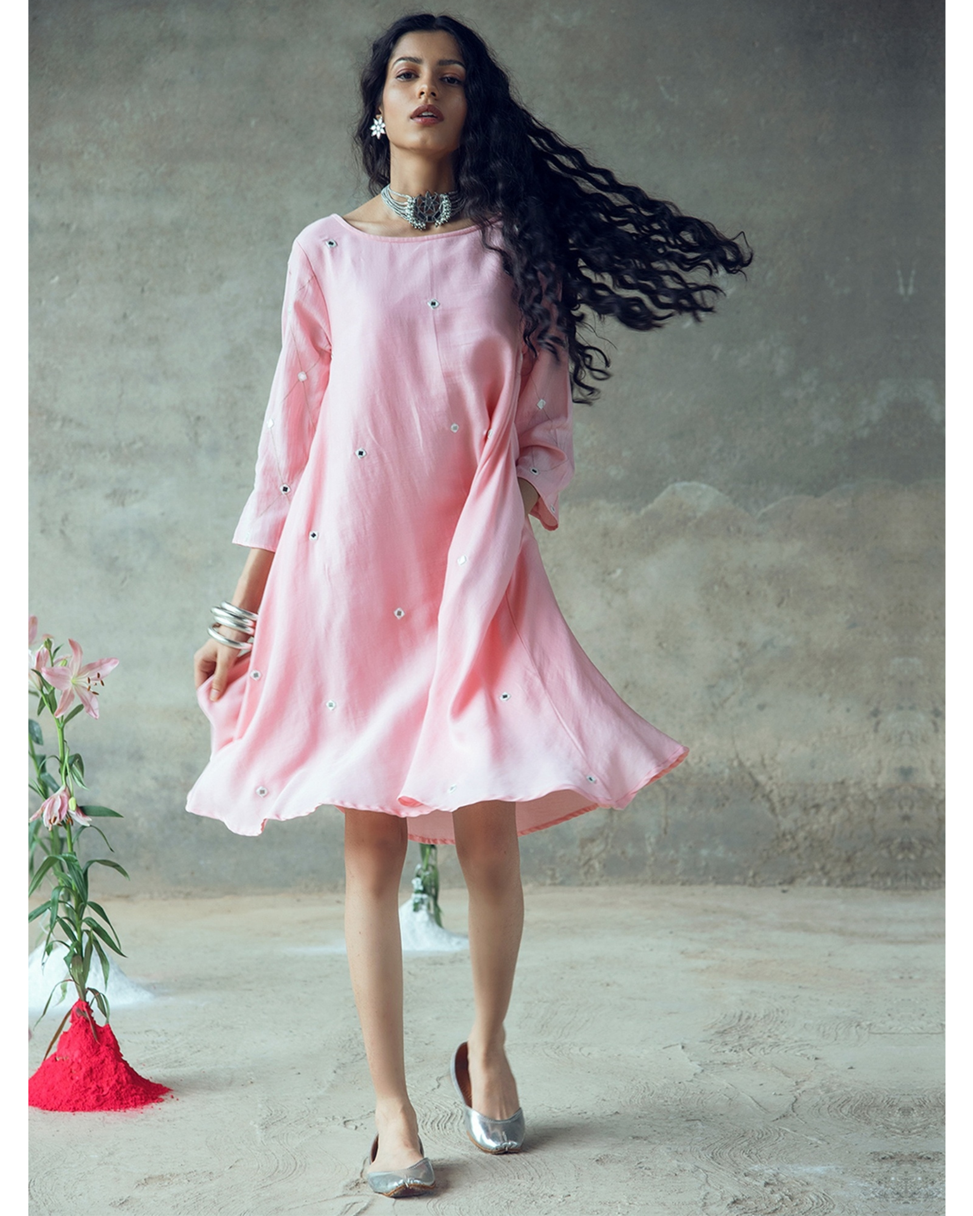 Pink swing dress with mirror work