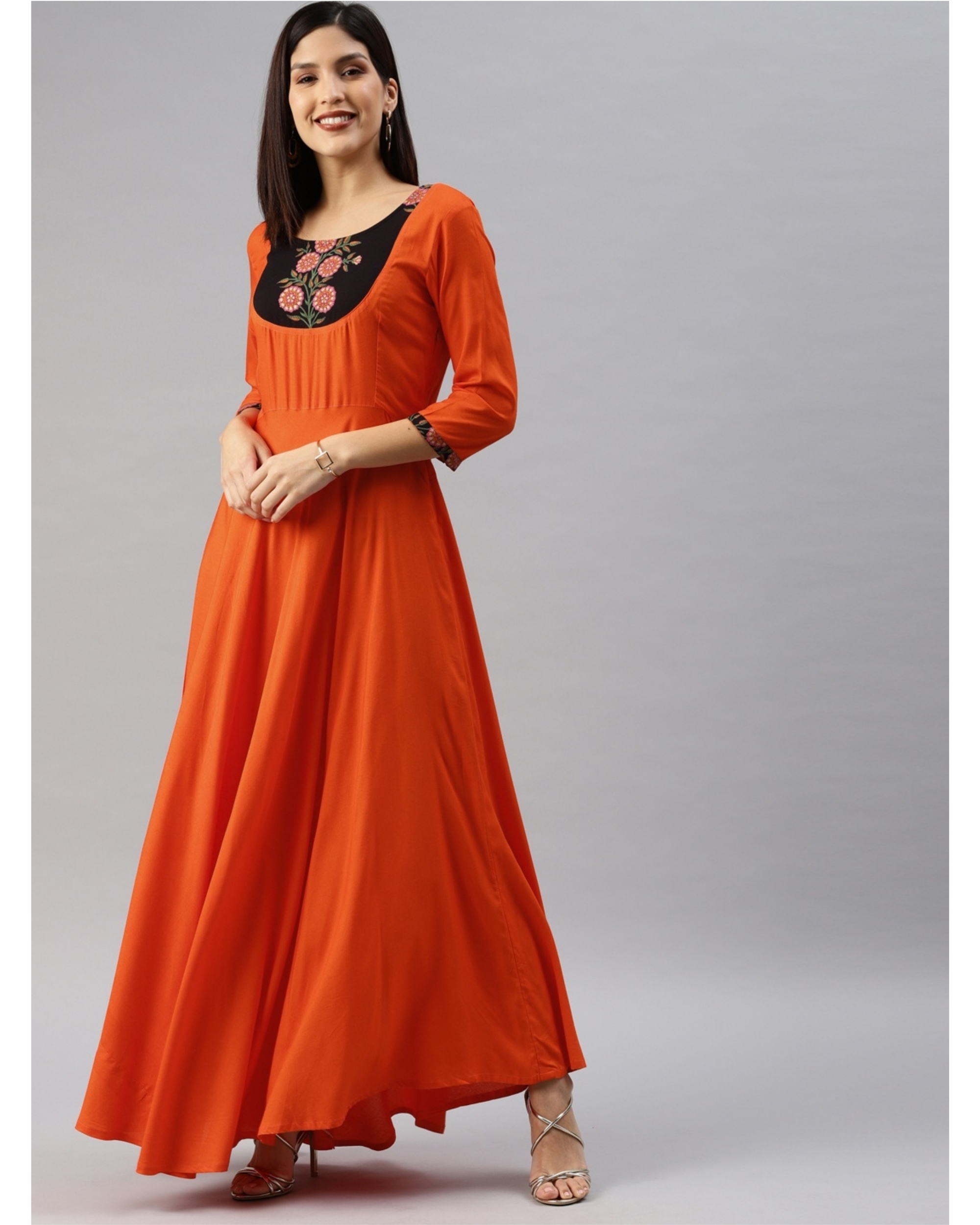 Orange fit and flare dress with yoke