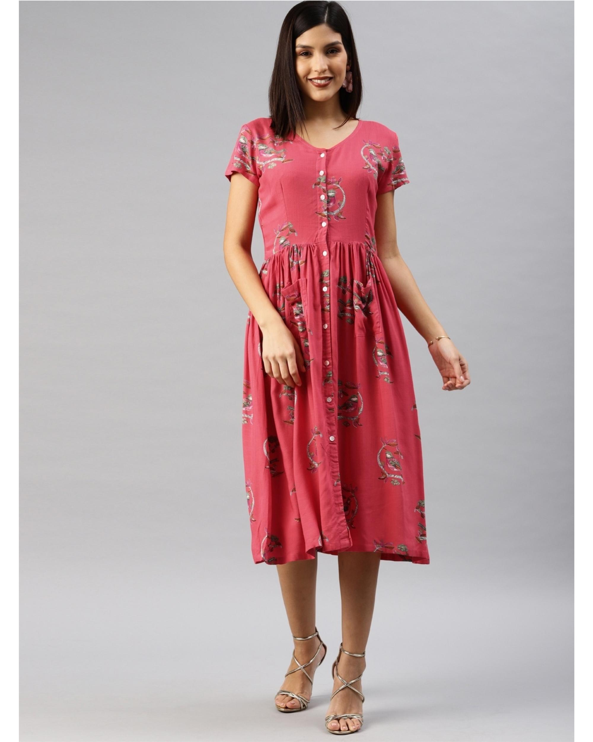 Pink printed a-line dress