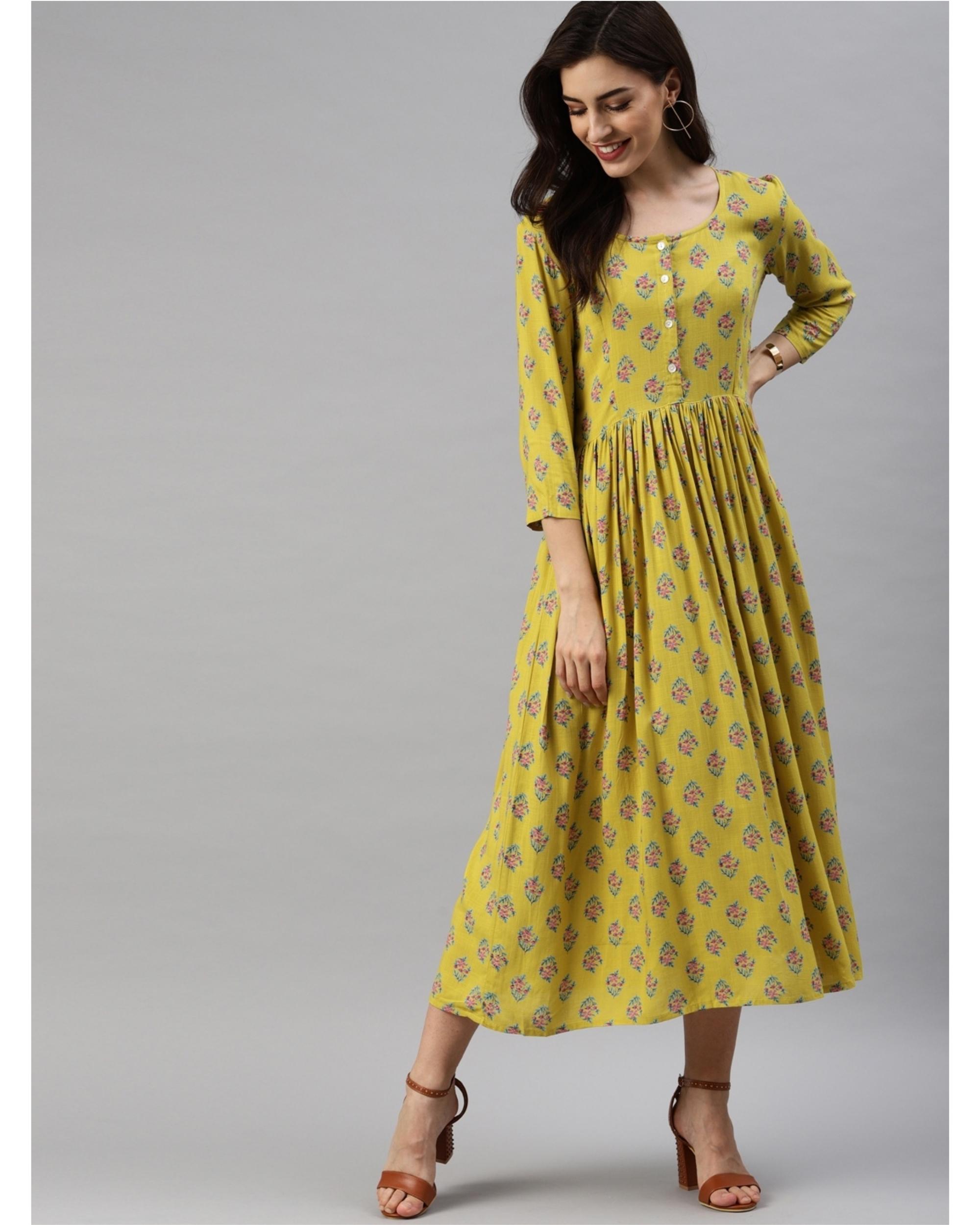 Yellow printed a-line dress