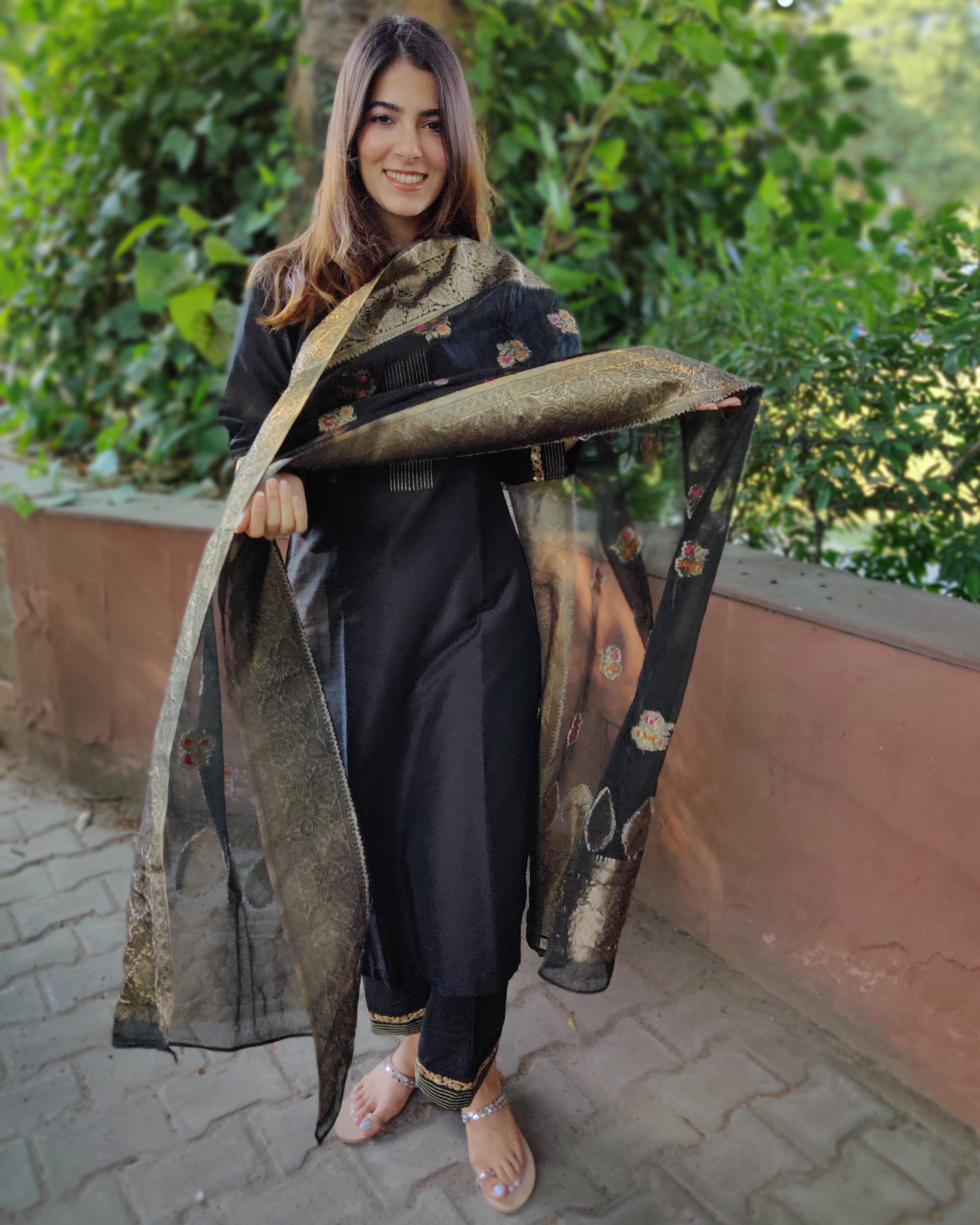 Black Cotton Silk Suit Set with Organza Dupatta - Set of Three