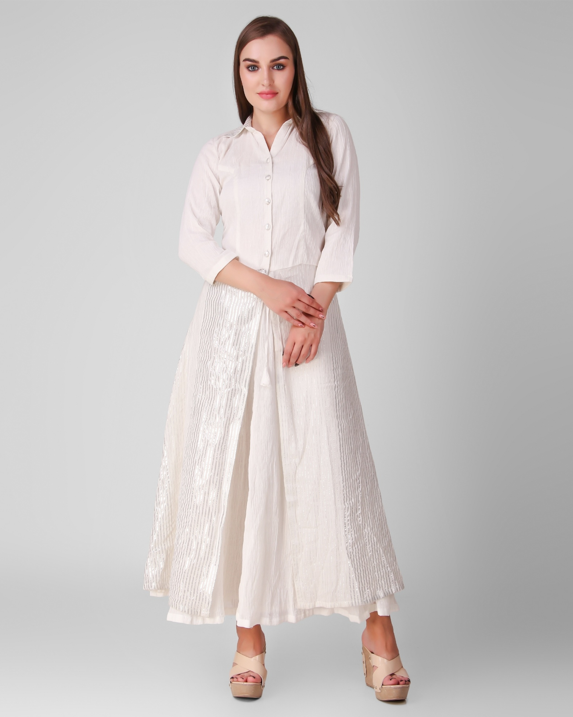 Ivory cotton crepe button down overlay with skirt - set of two