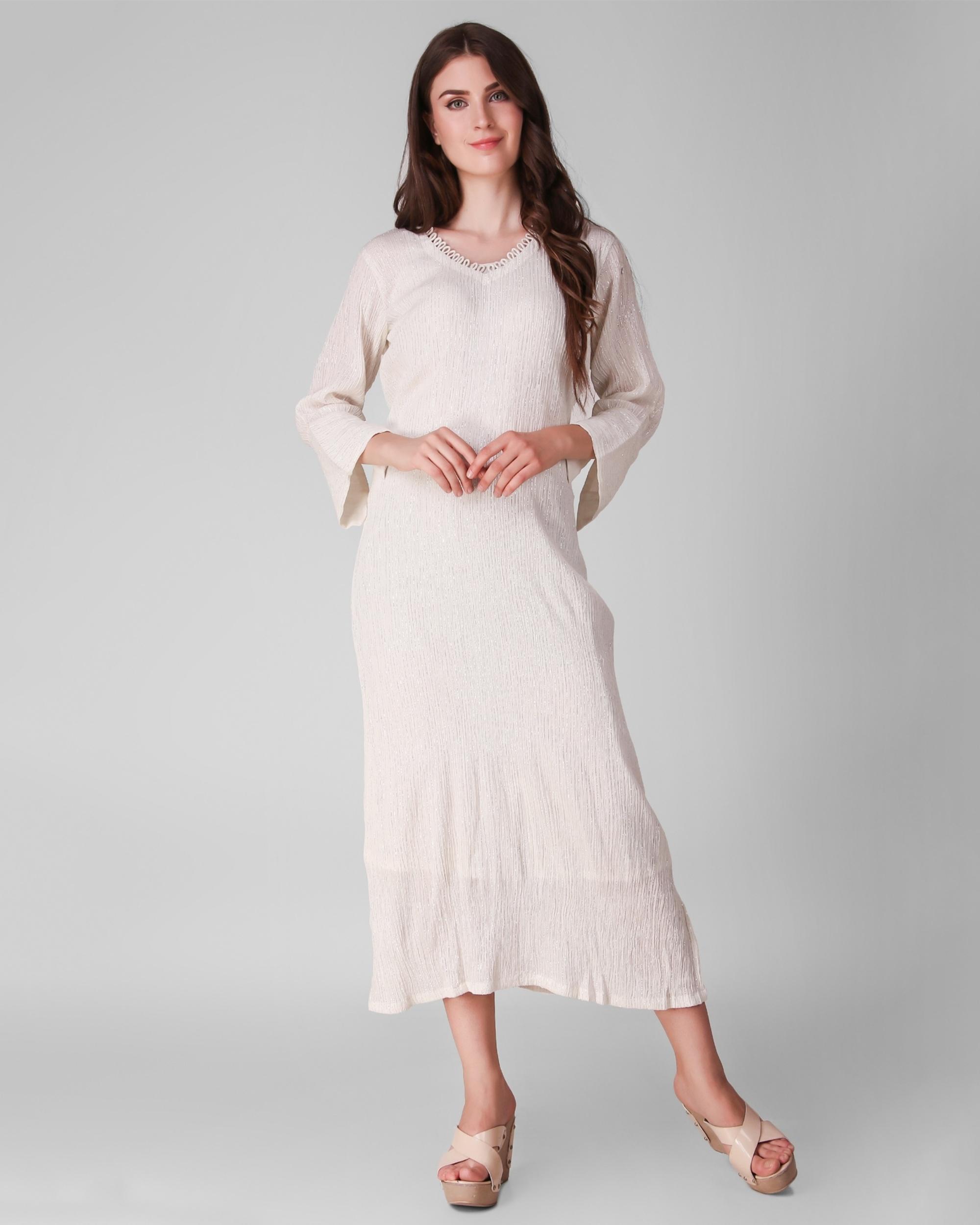 Ivory cotton crepe lurex dress - set of two