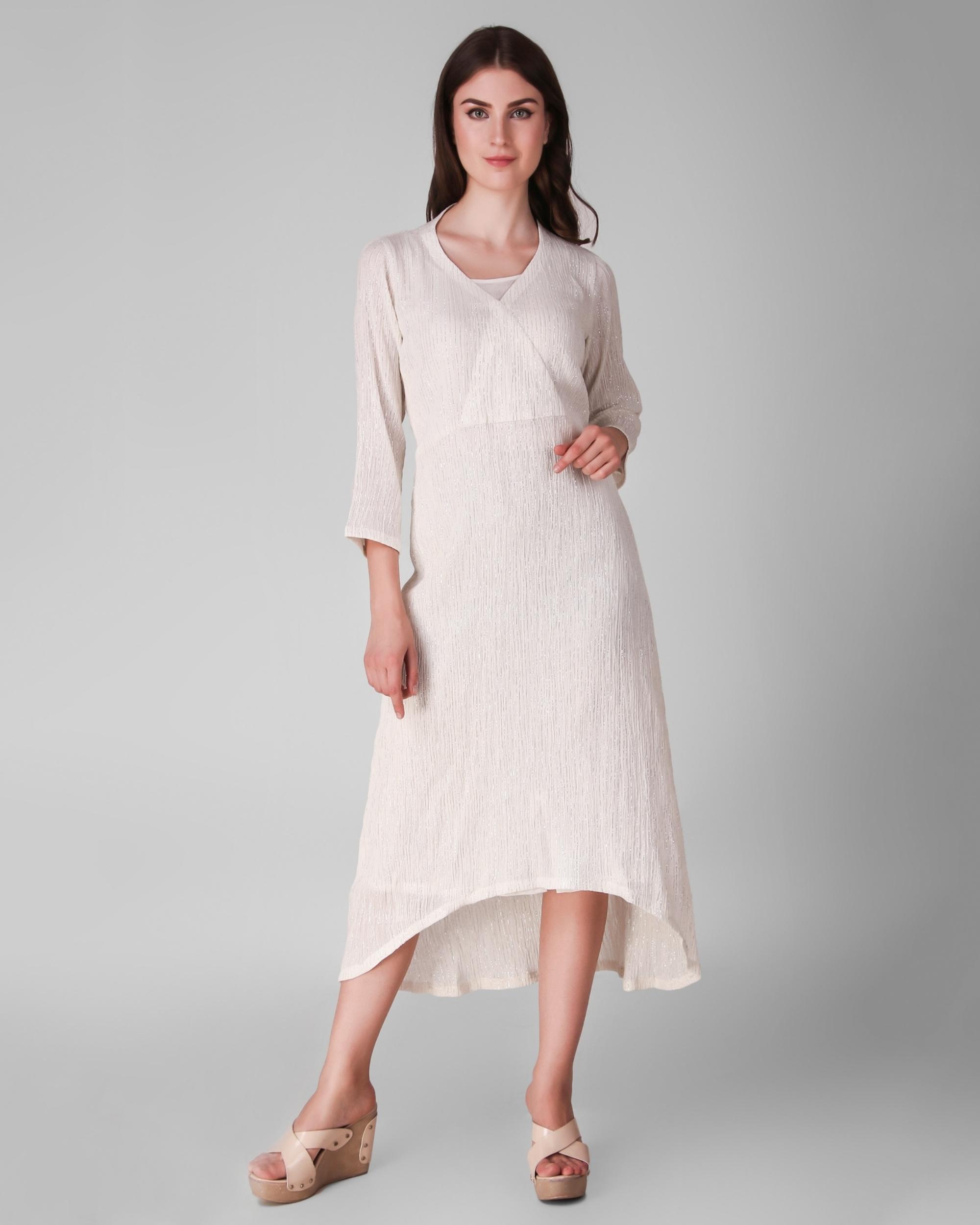 Ivory cotton crepe lurex asymmetrical dress - set of two