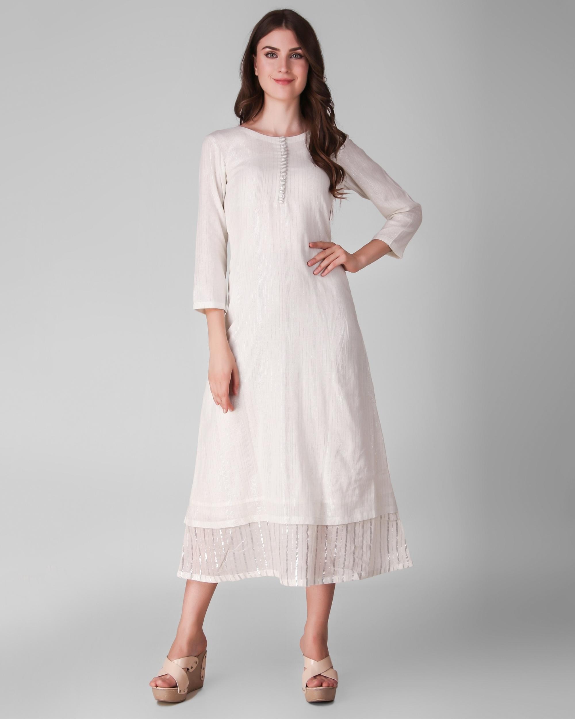 Ivory cotton lurex layered dress
