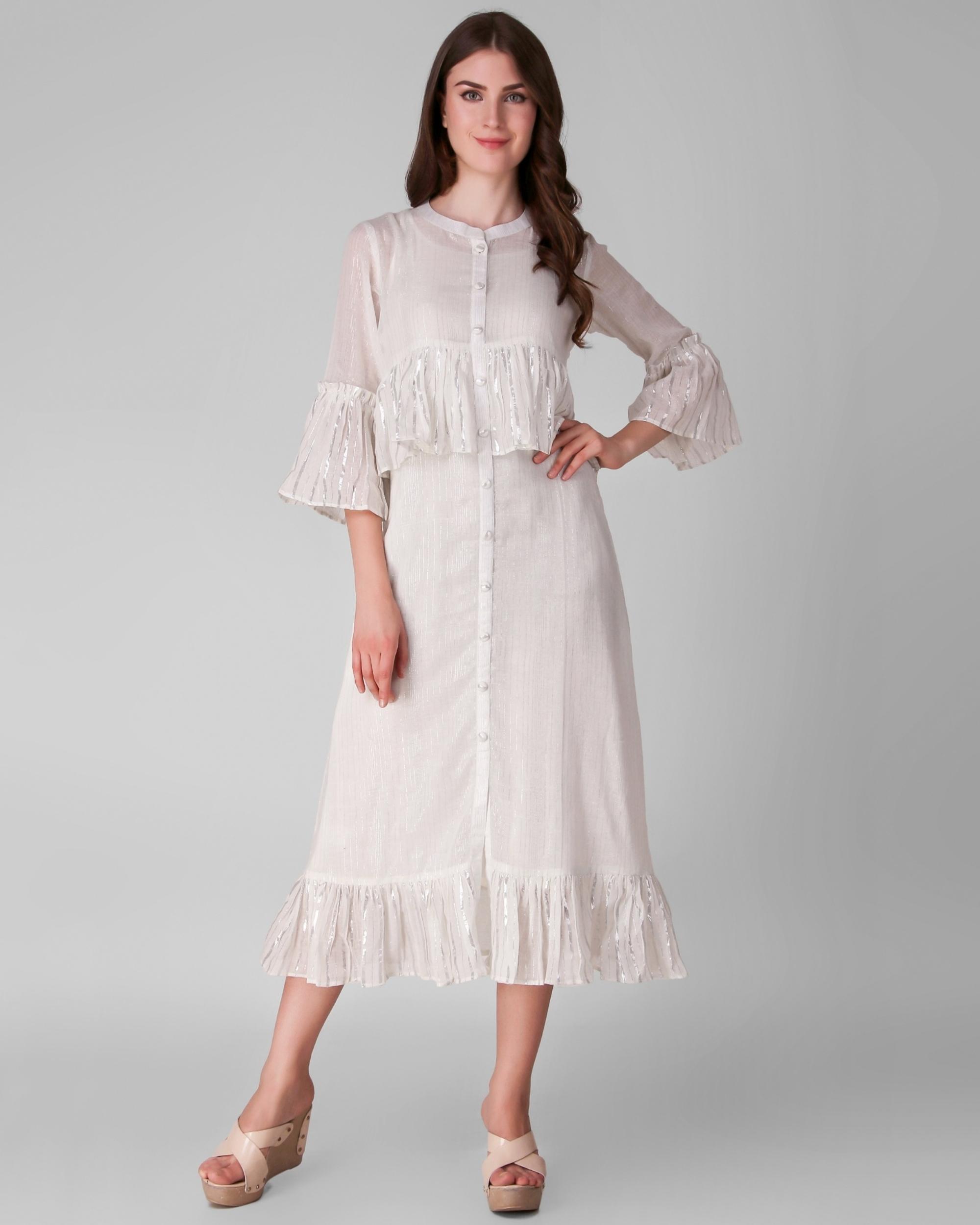 Ivory cotton lurex frill dress - set of two