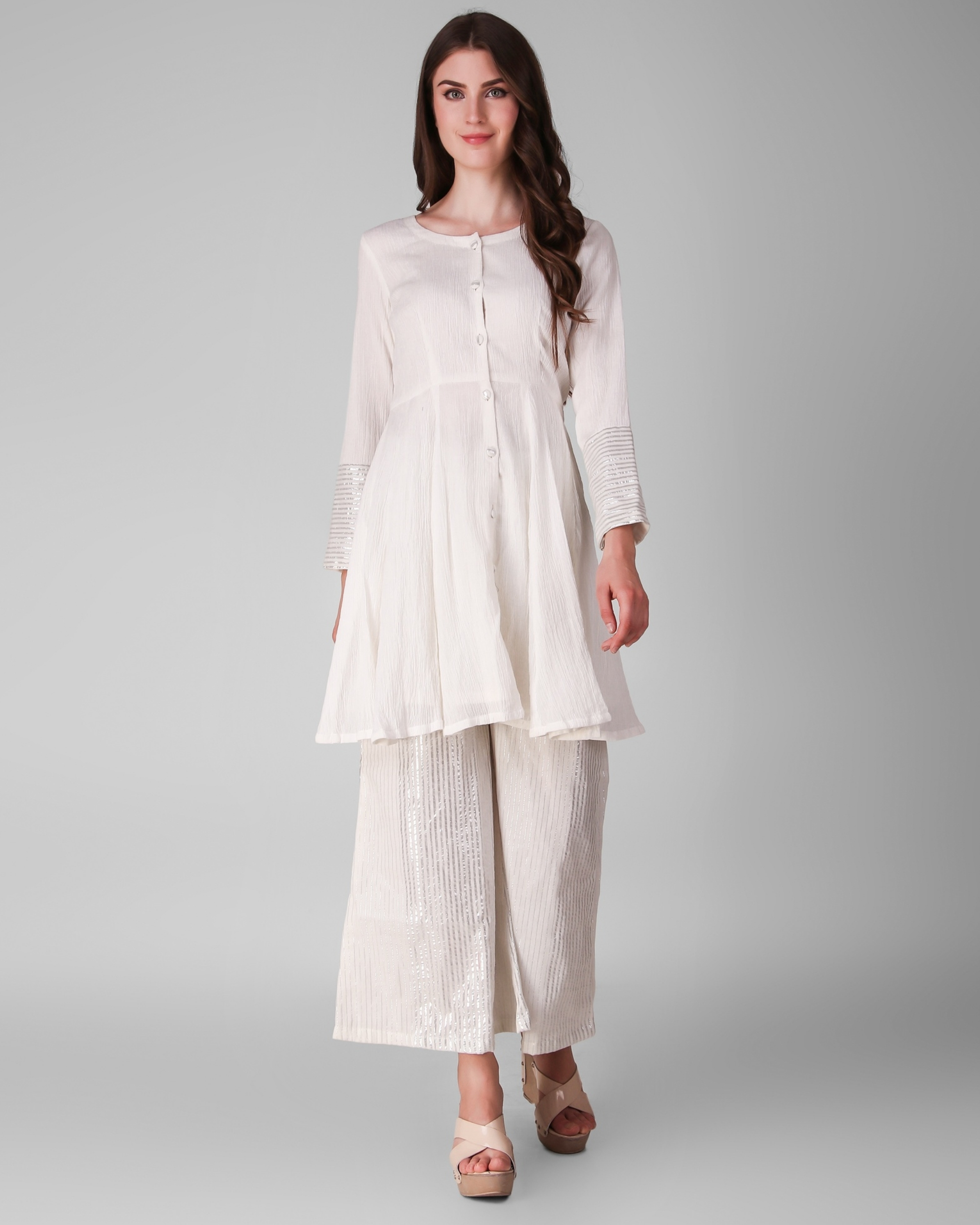 Ivory cotton crepe pleated tunic with cotton lurex stripe palazzo - set of two