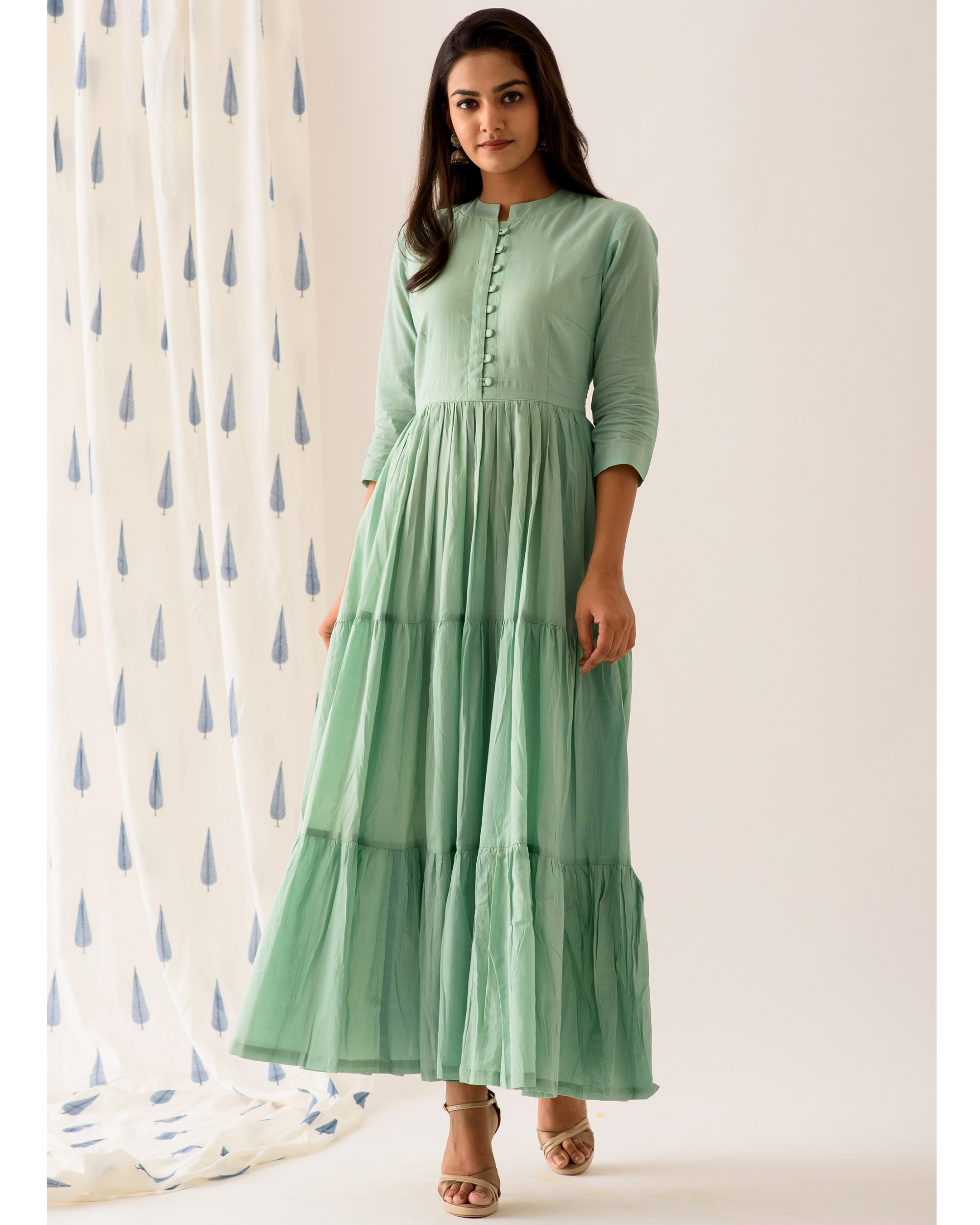 Mint frilled anarkali dress