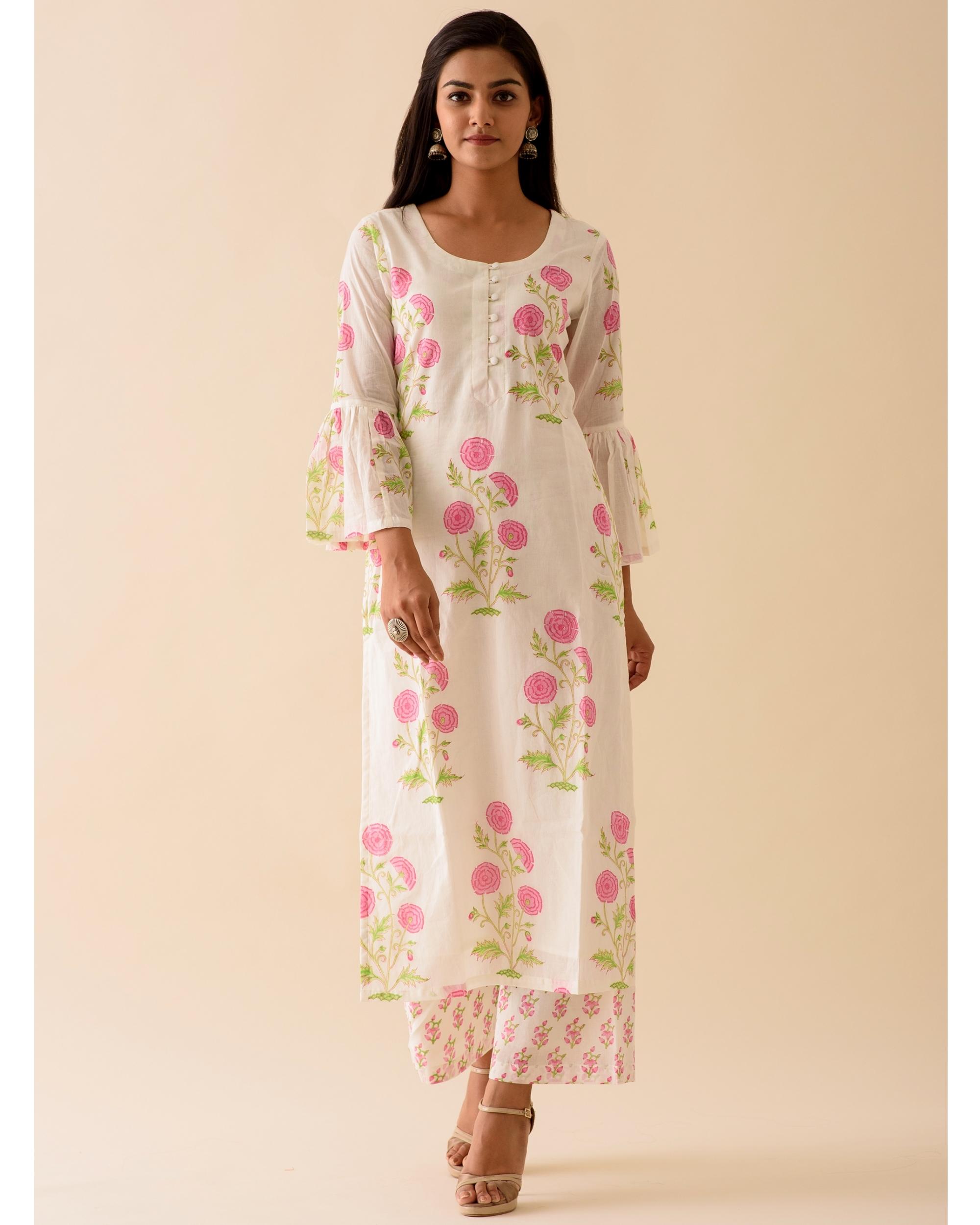 Pink peony bell sleeved block printed kurta