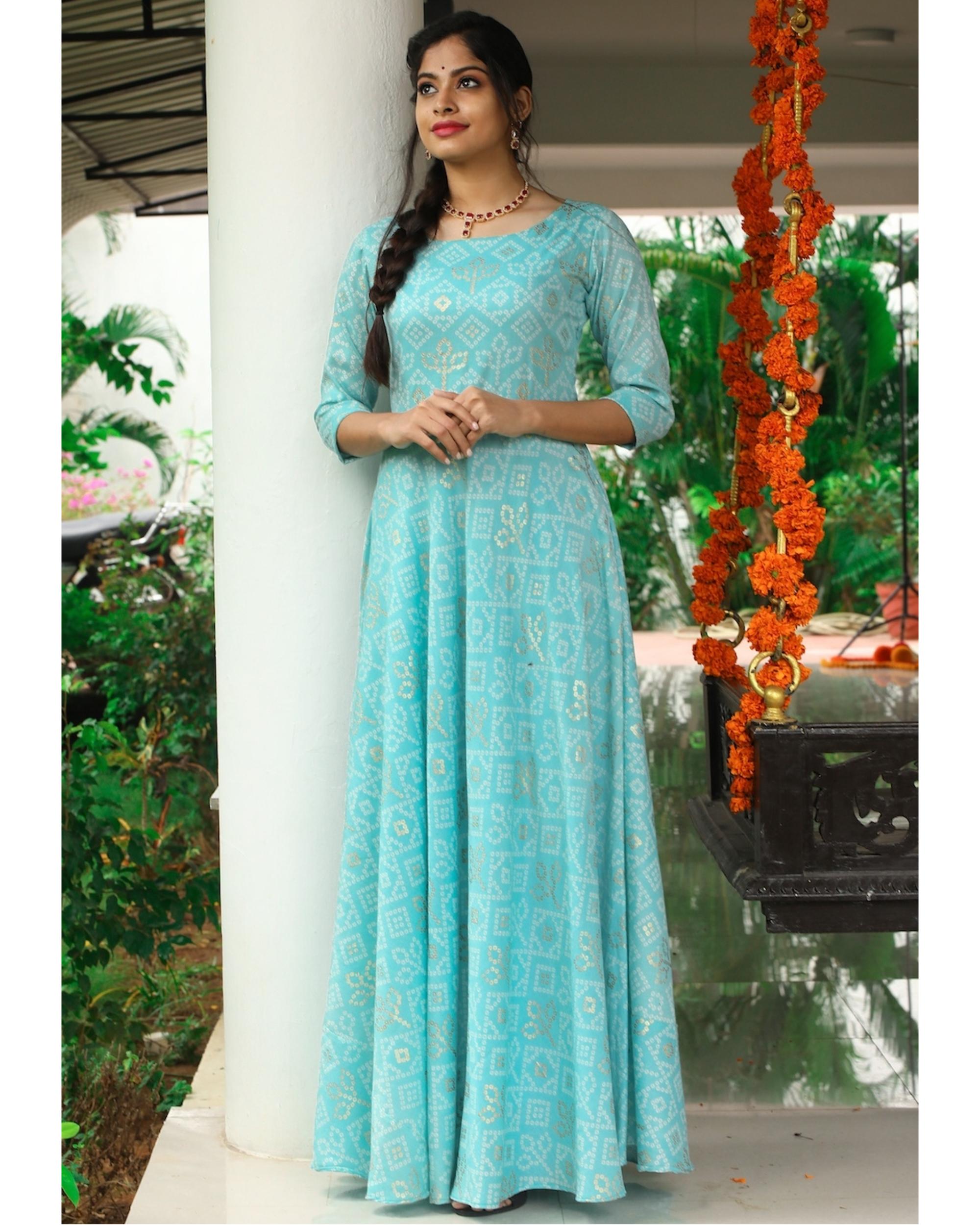 Pastel blue bandhini maxi dress