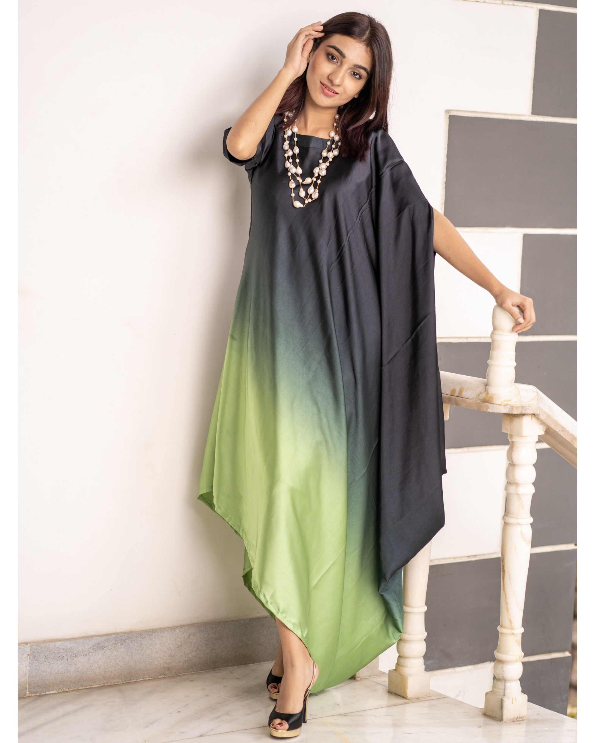 Green and Grey Ombre Poncho Dress