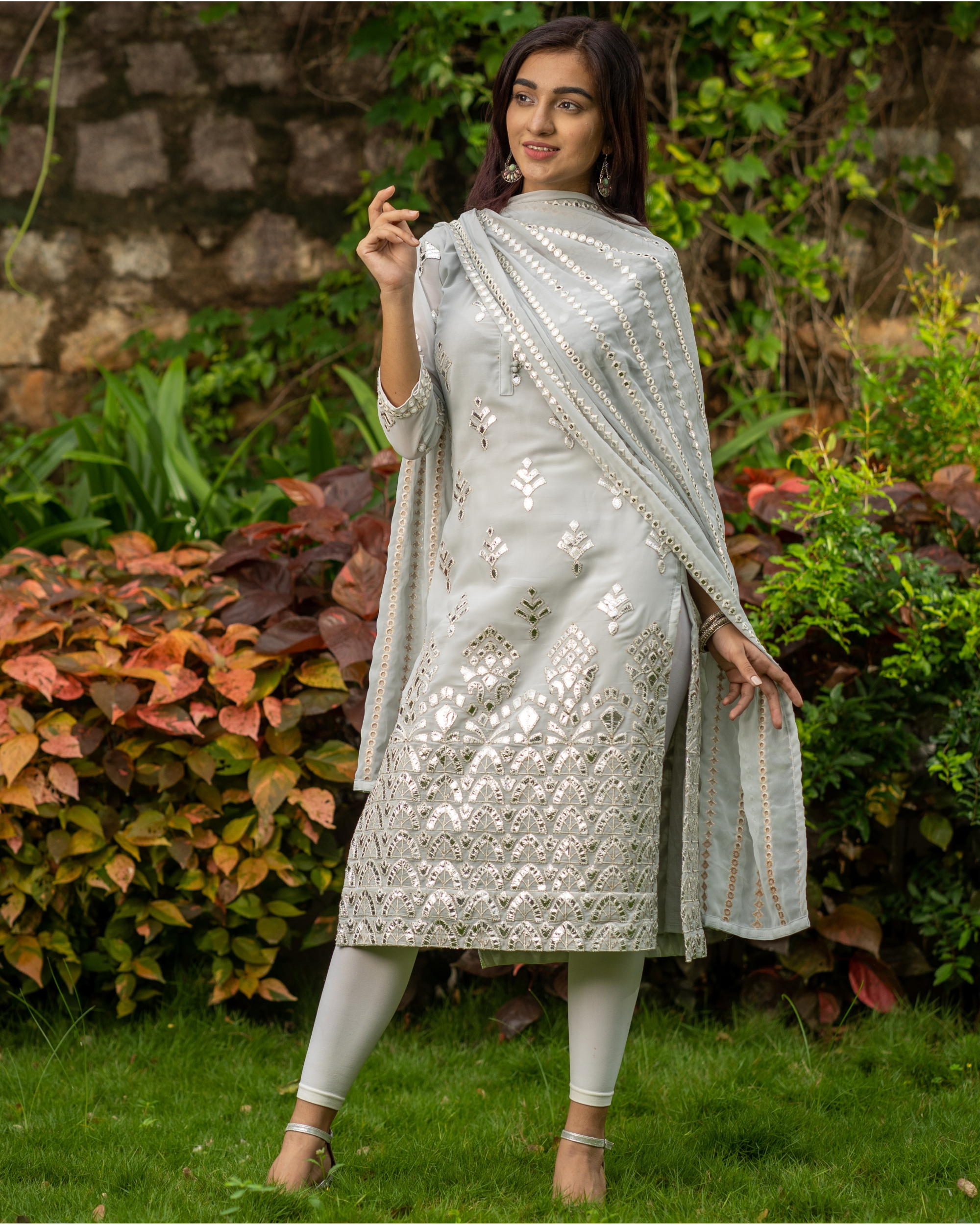 Grey gota work kurta with mirror work dupatta - set of two
