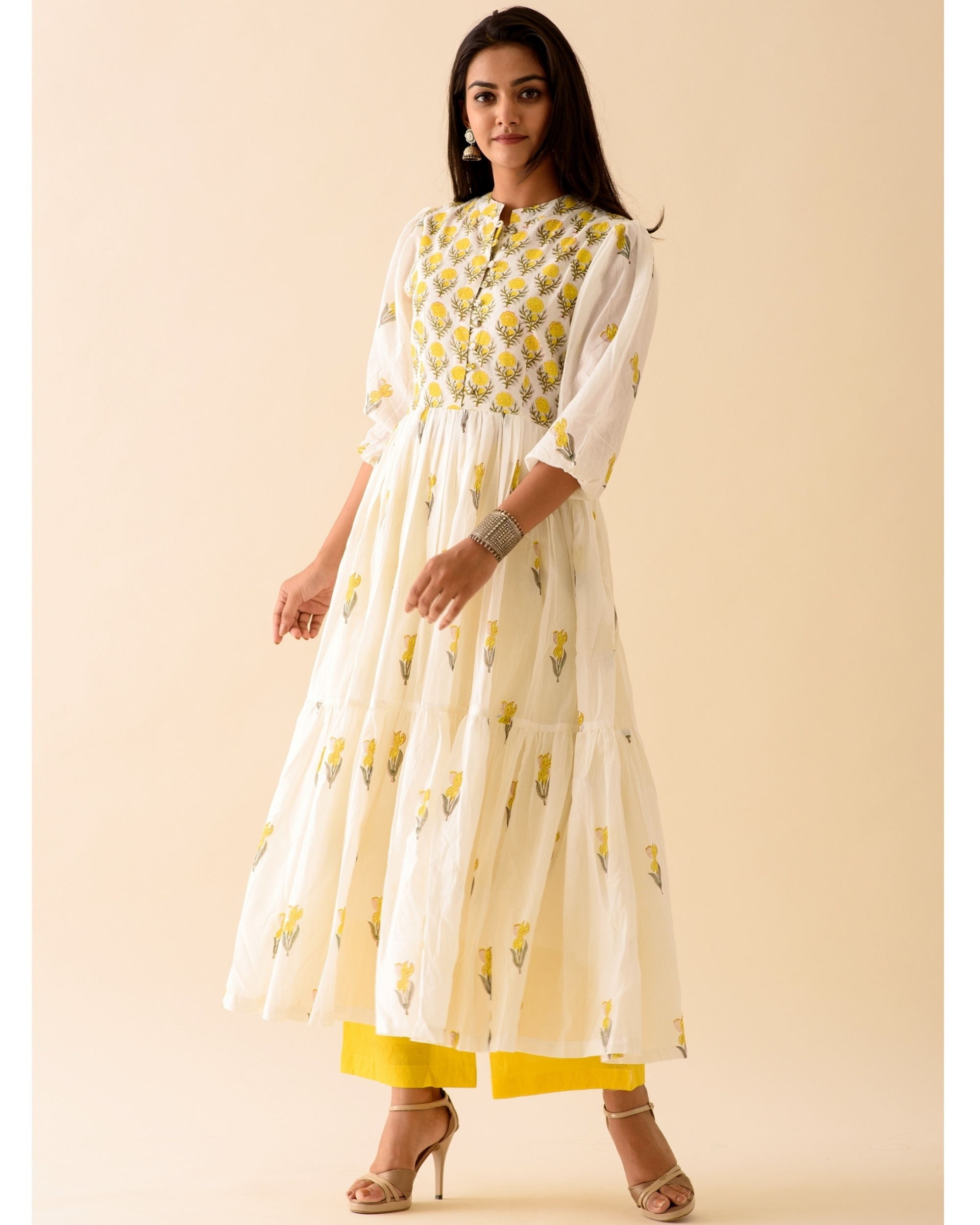 Lemon lily dress with palazzo-set of two