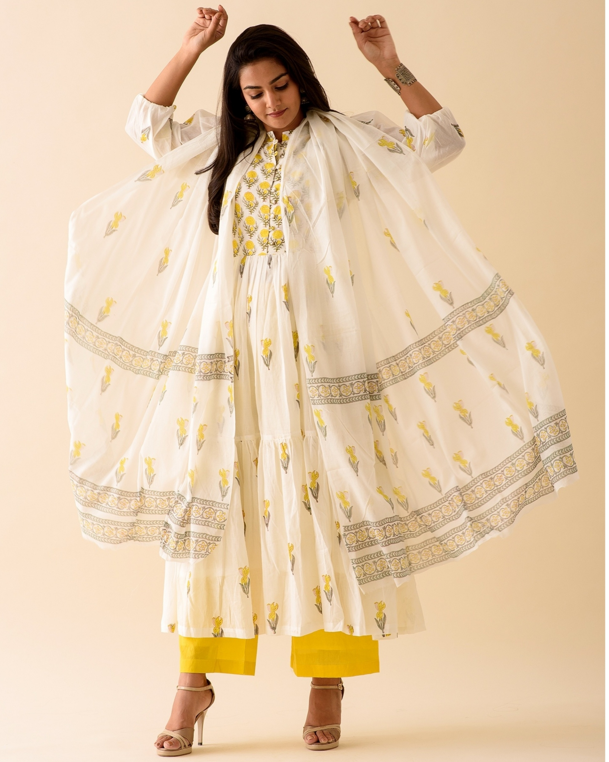 Lemon lily dress with palazzo and dupatta-set of three
