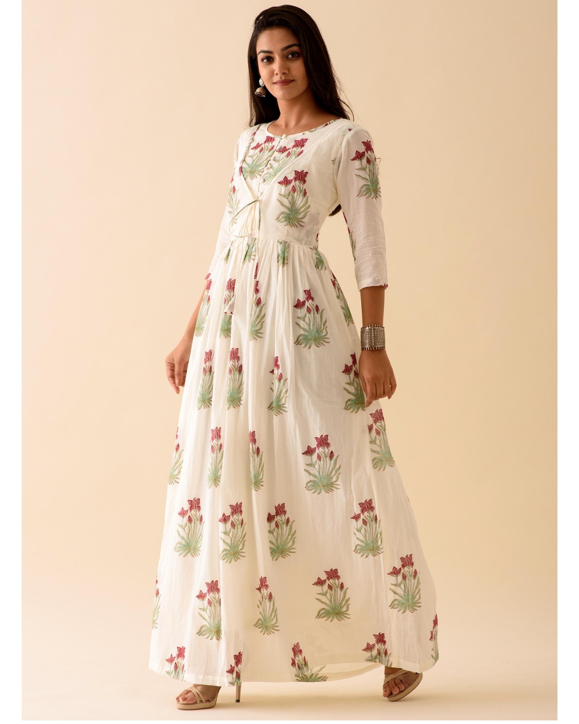 Off-white marsala print dress