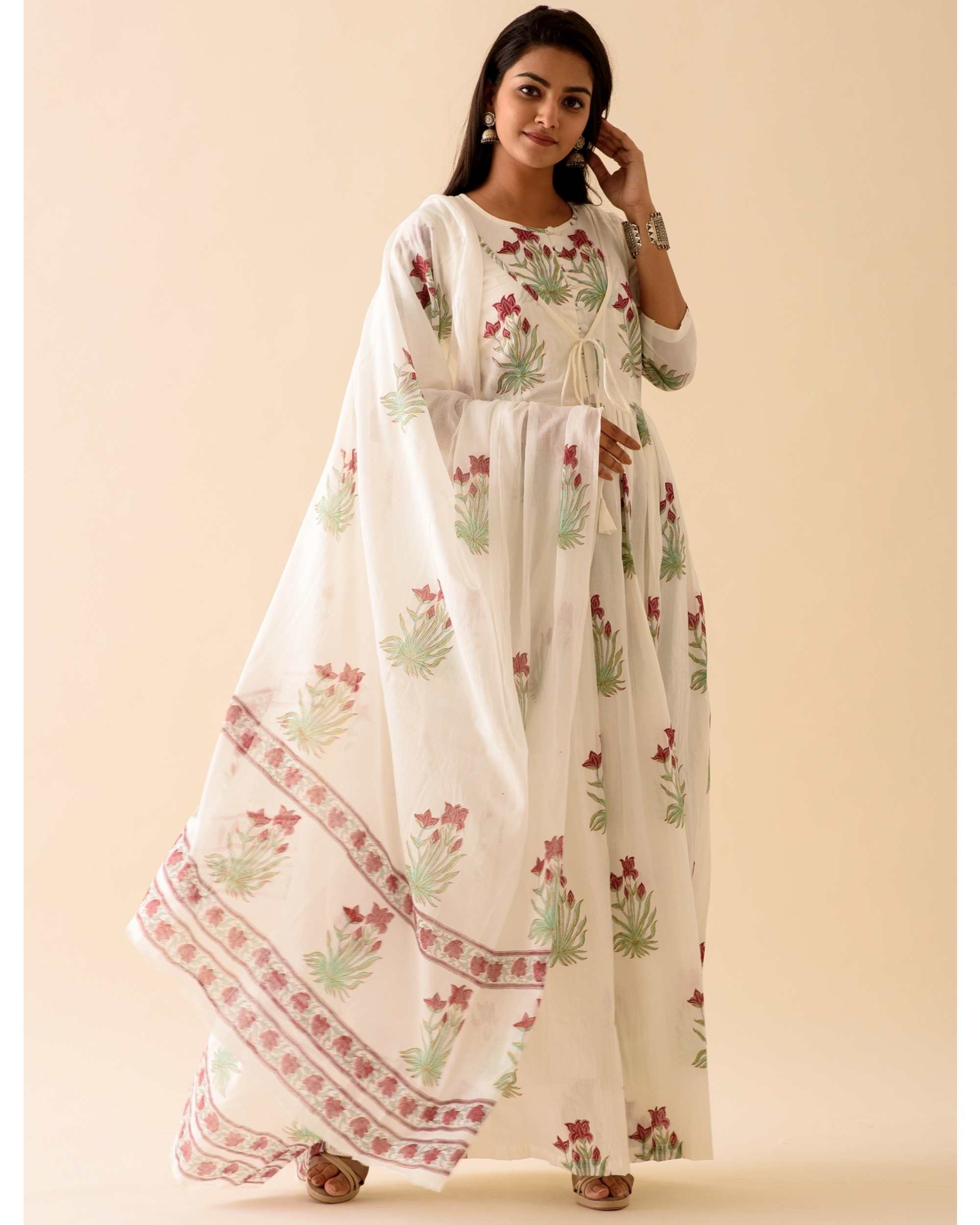 Off-white marsala print dress with dupatta-set of two