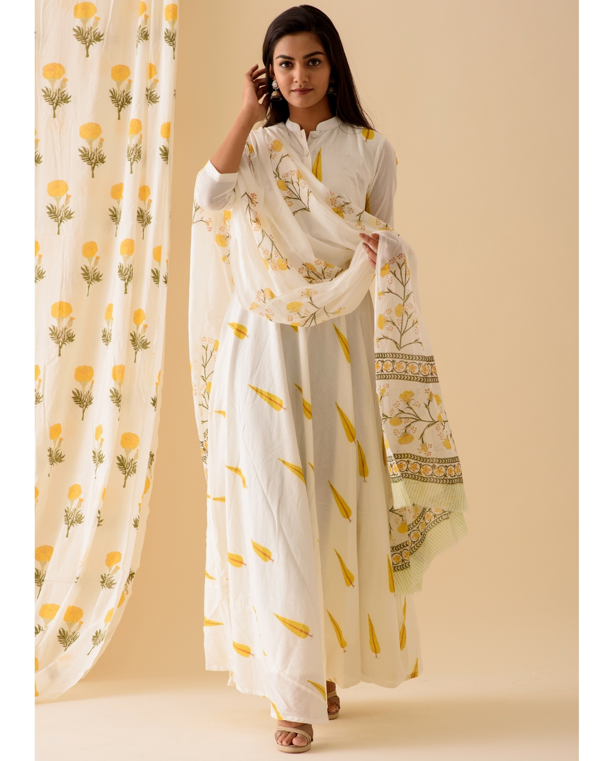 Yellow leaf printed anarkali with dupatta-set of two