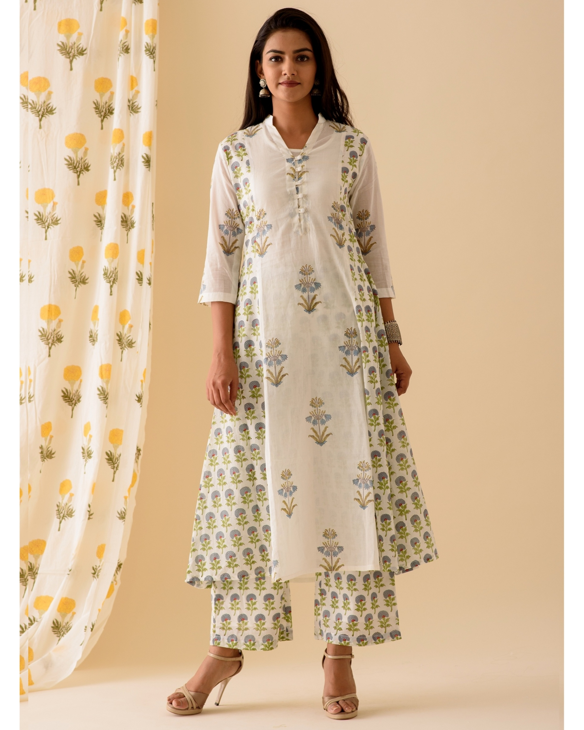 Blue and white kurta and palazzo-set of two