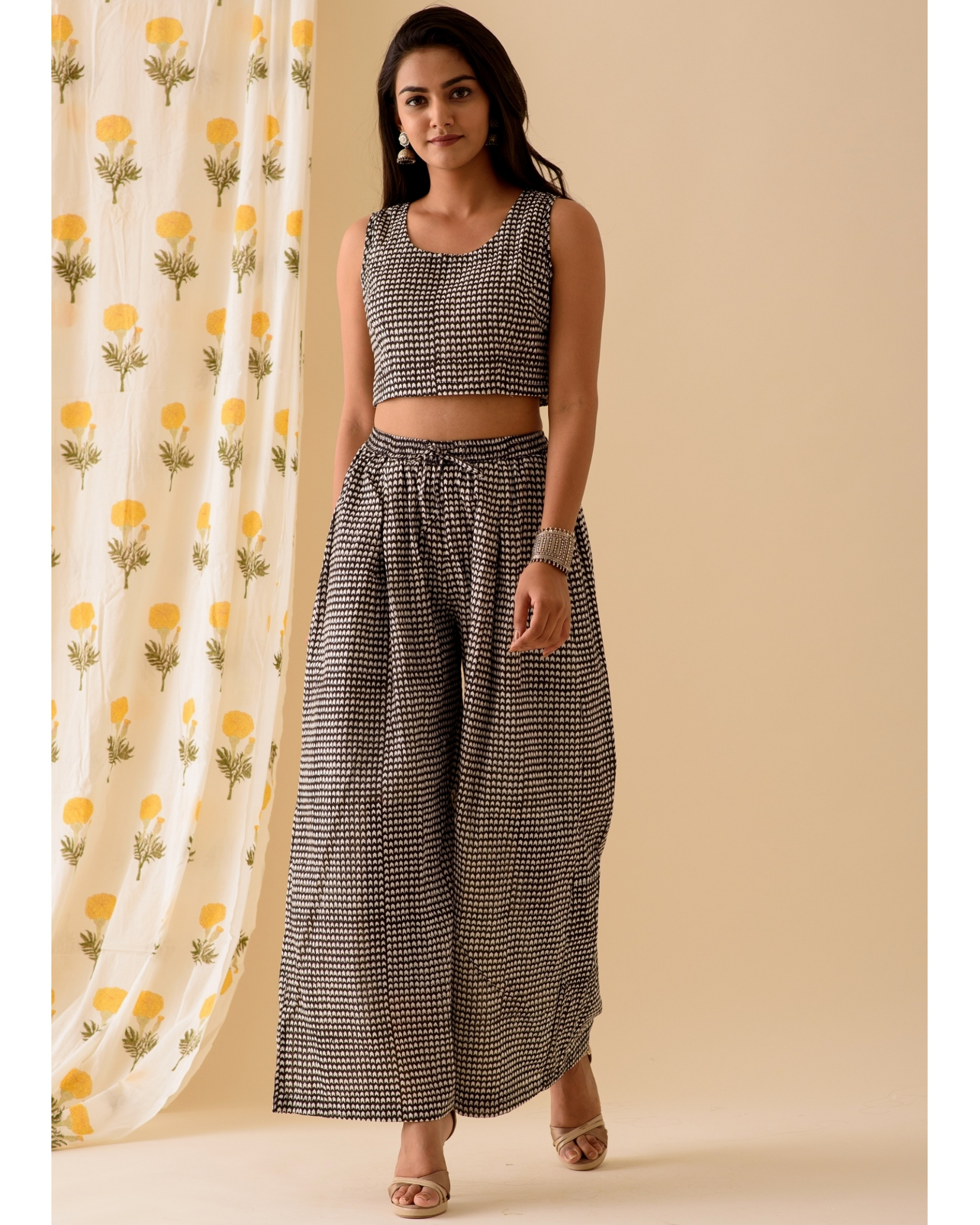 Black block printed crop top and pants-set of two
