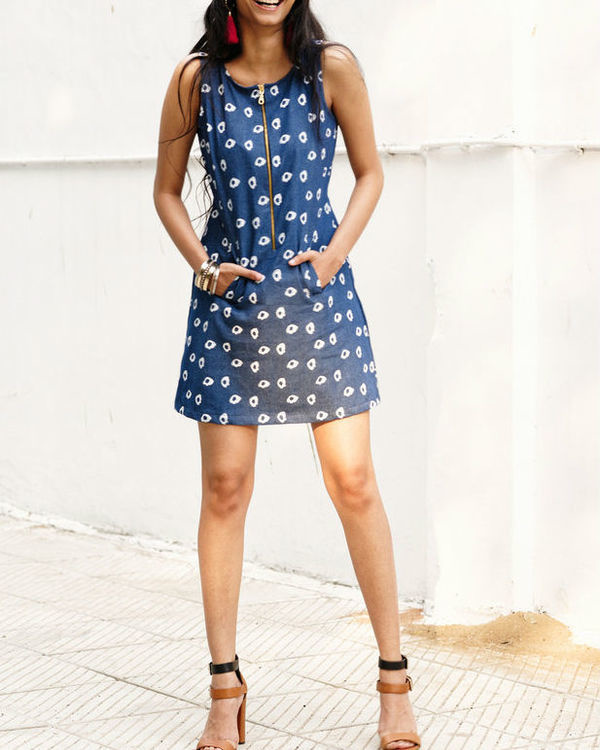 Denim amoeba a line mini dress