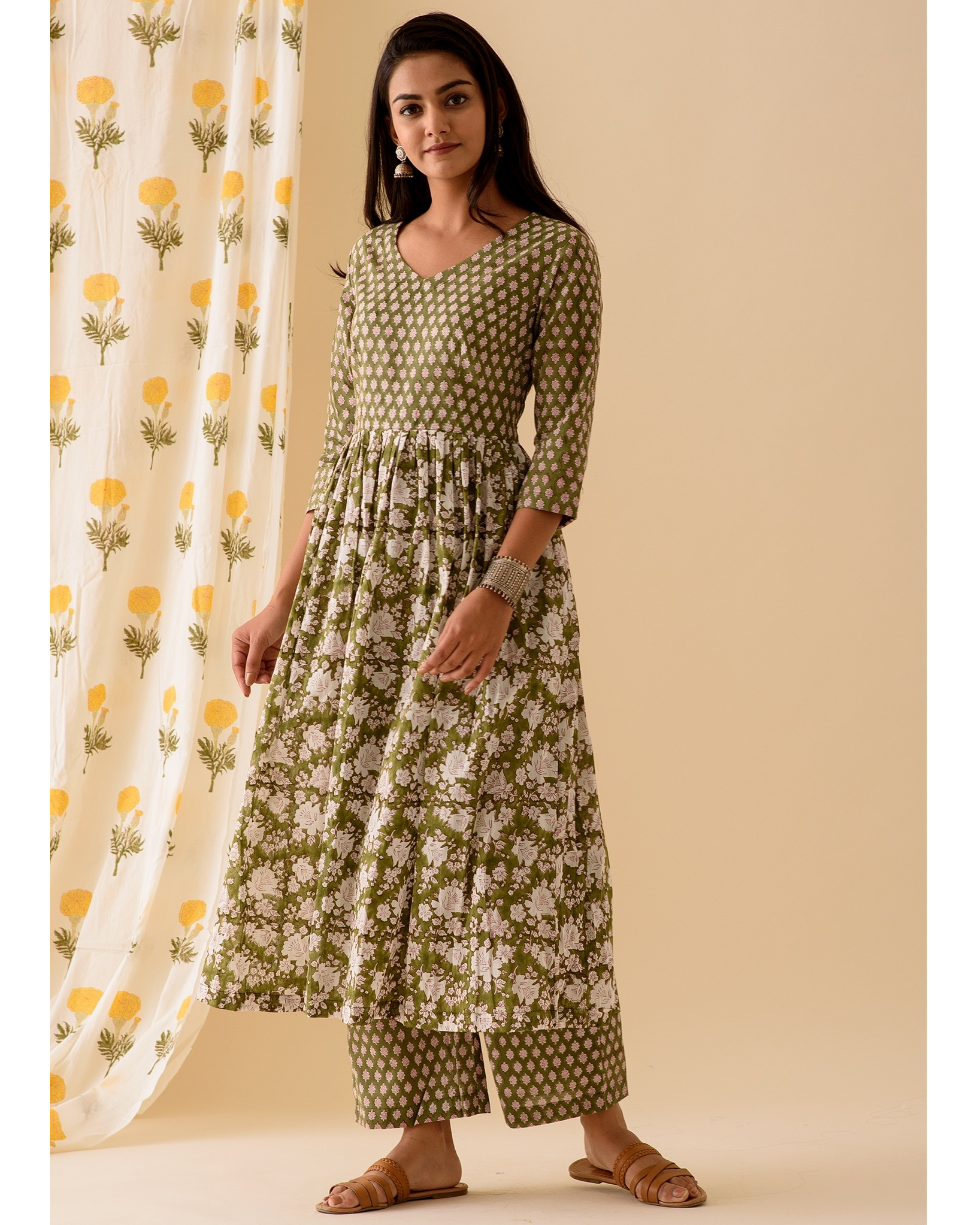 Green block printed kurta and palazzo-set of two