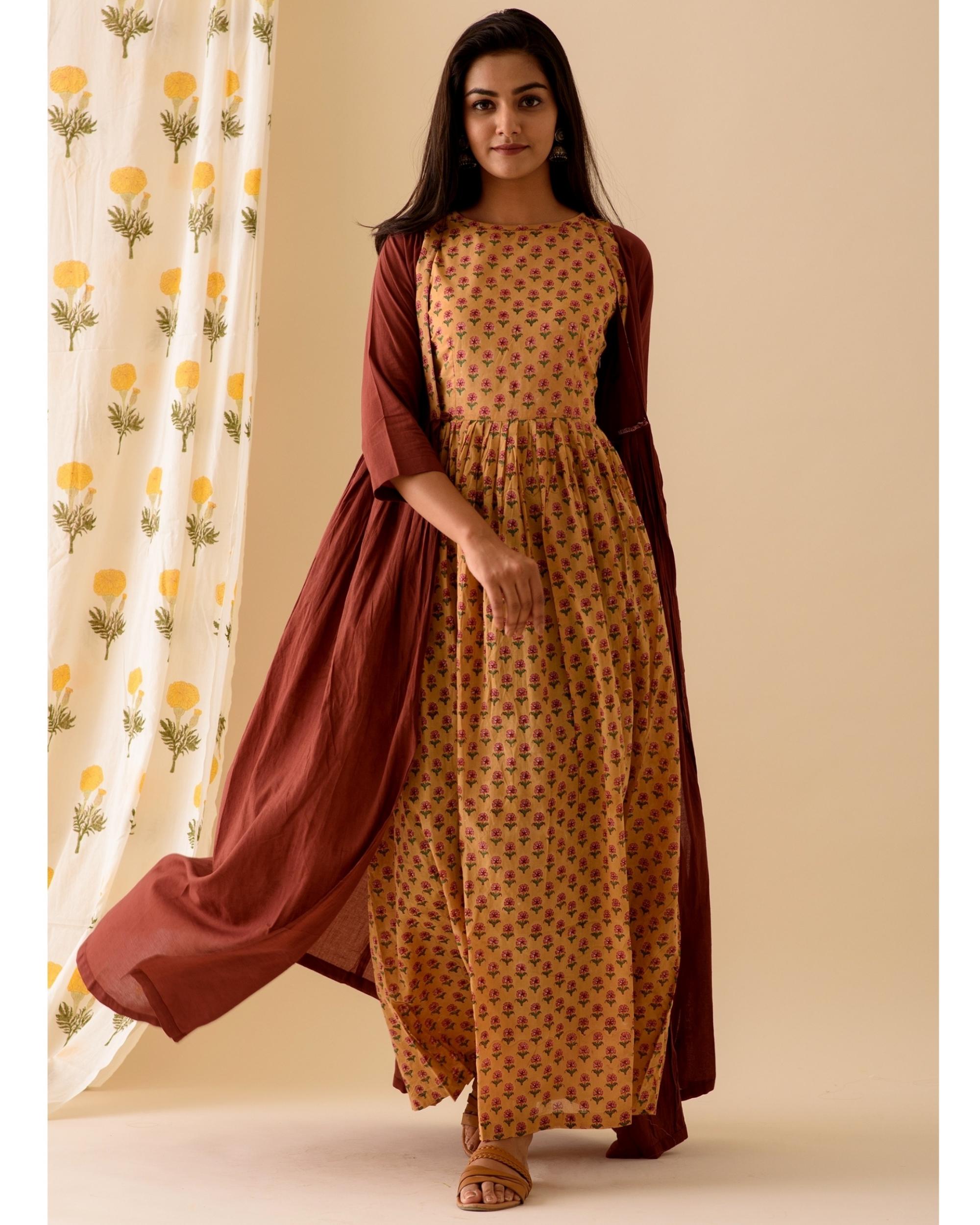 Mustard printed marsala dress