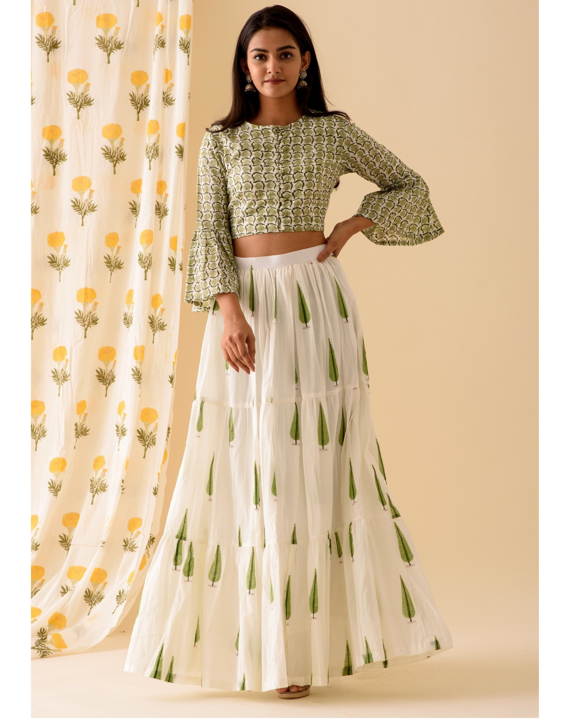 Green and off white crop top with skirt-set of two