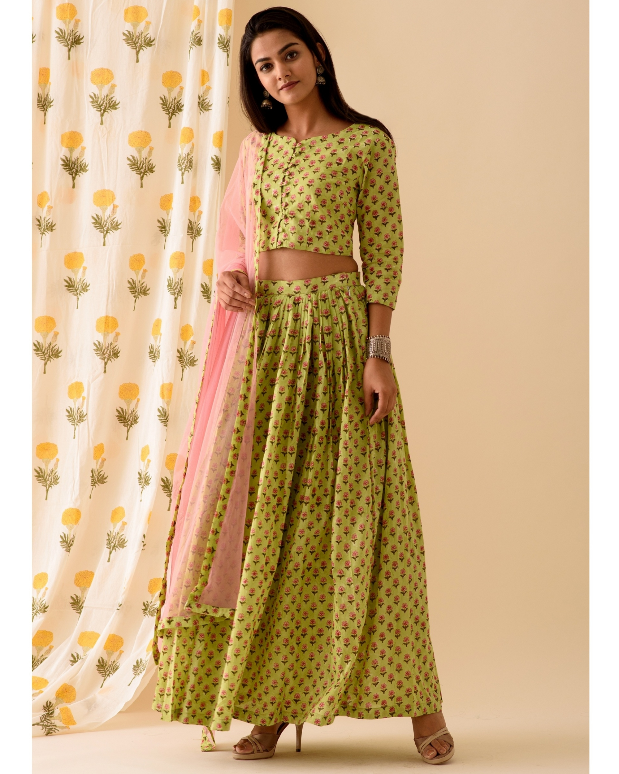 Green block printed lehenga-set of three