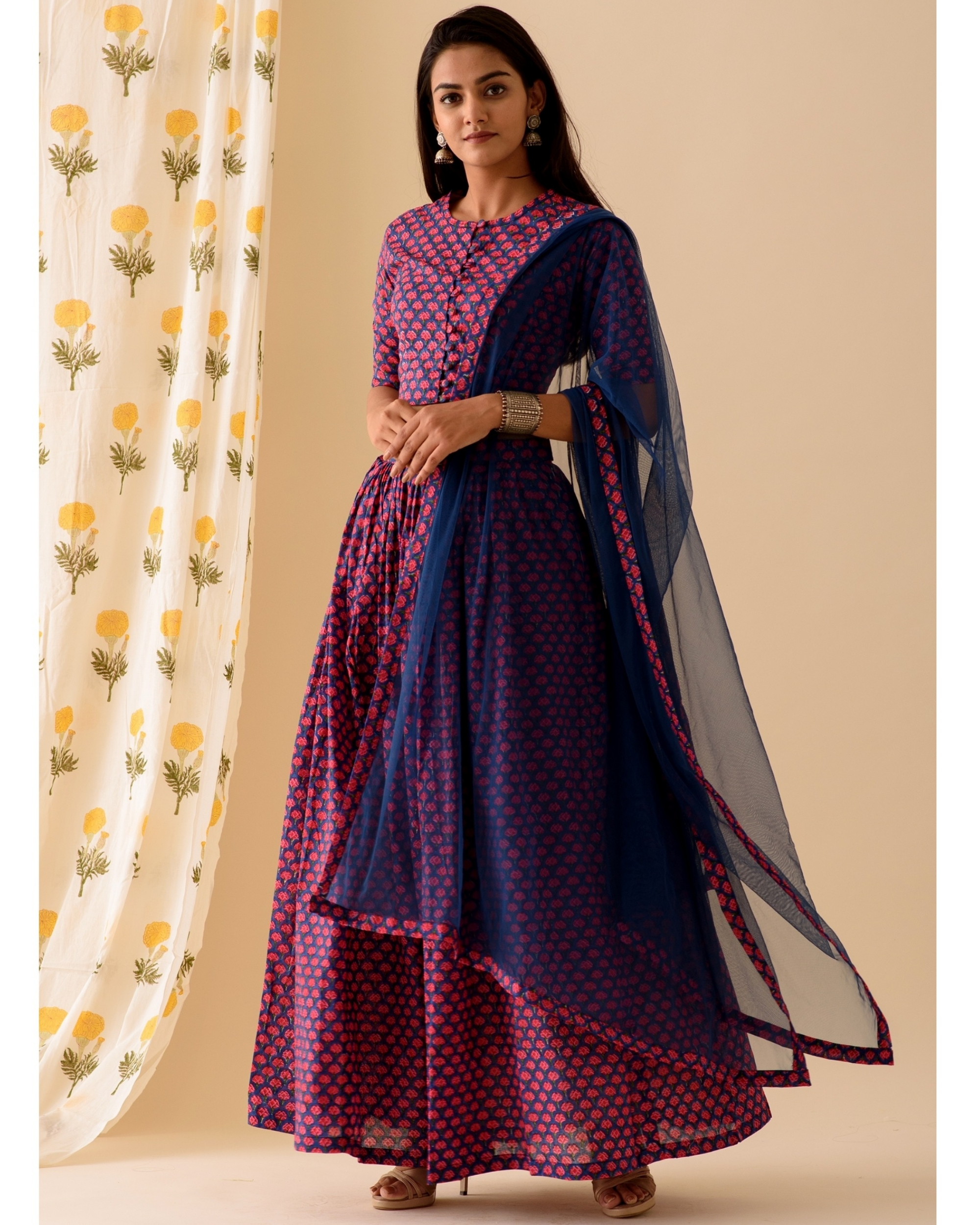 Violet and blue lehenga-set of three