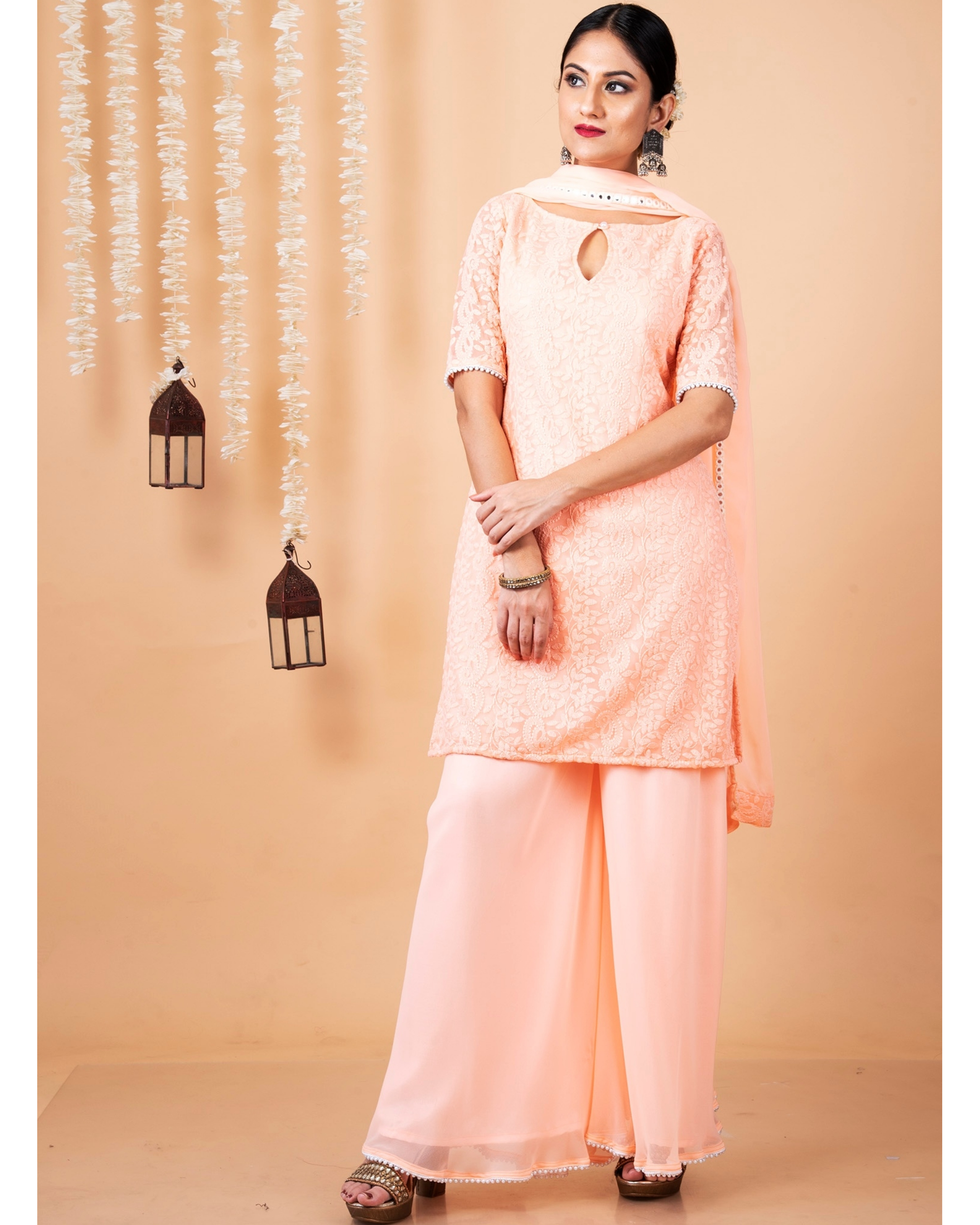 Peach lucknowi suit with palazzo and dupatta - set of three