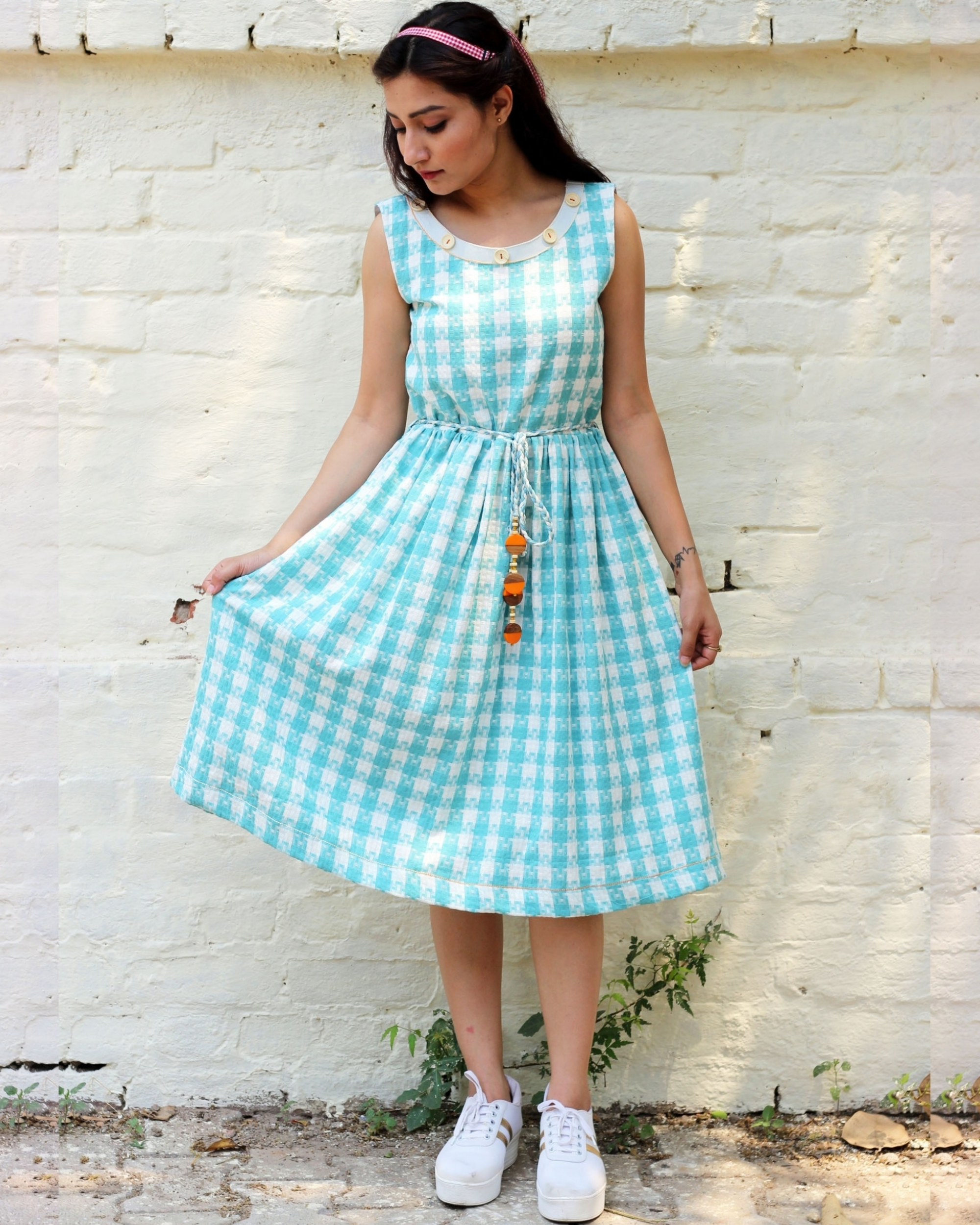 Blue and white checked dress