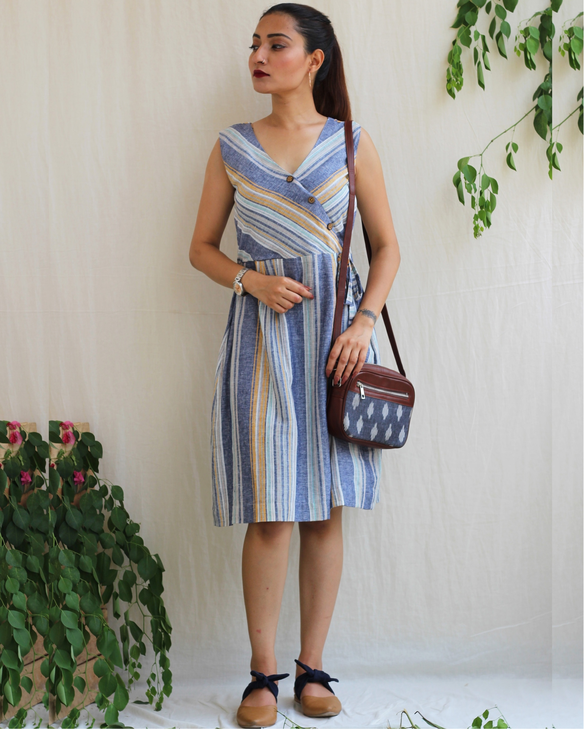 Blue linen striped dress