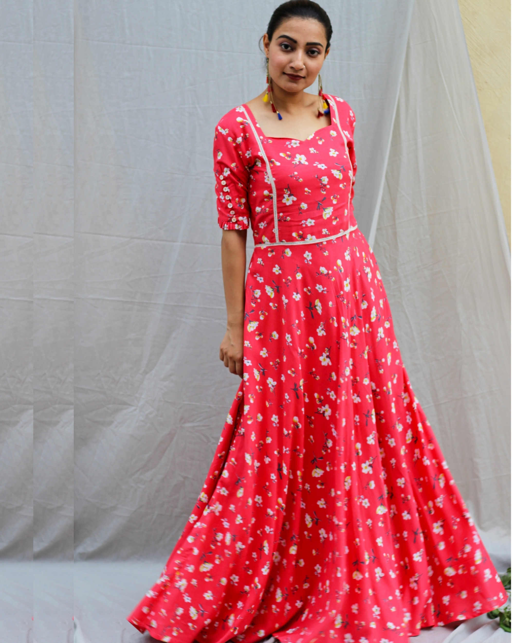 Coral red printed maxi dress