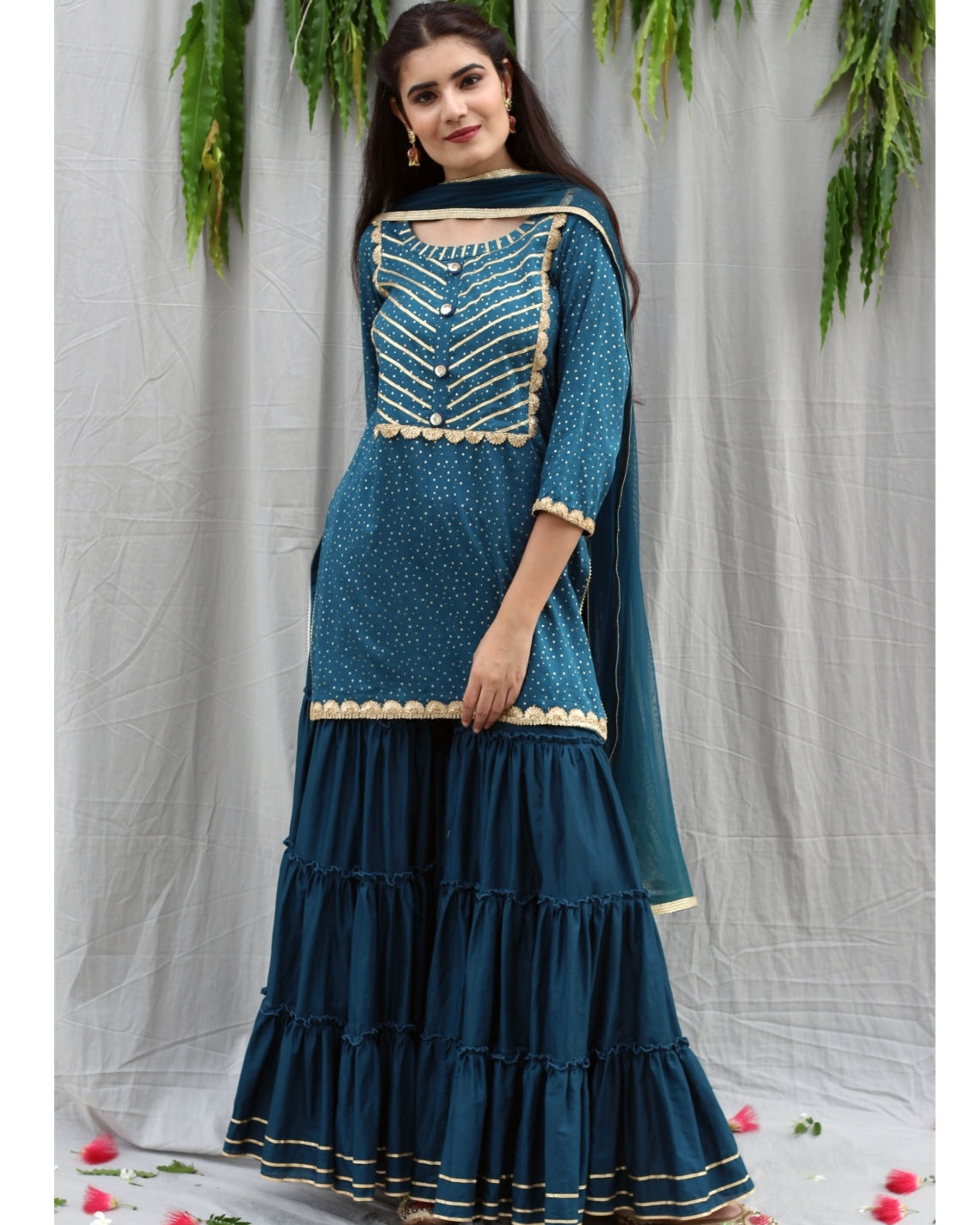 Teal blue sharara suit with dupatta - set of three
