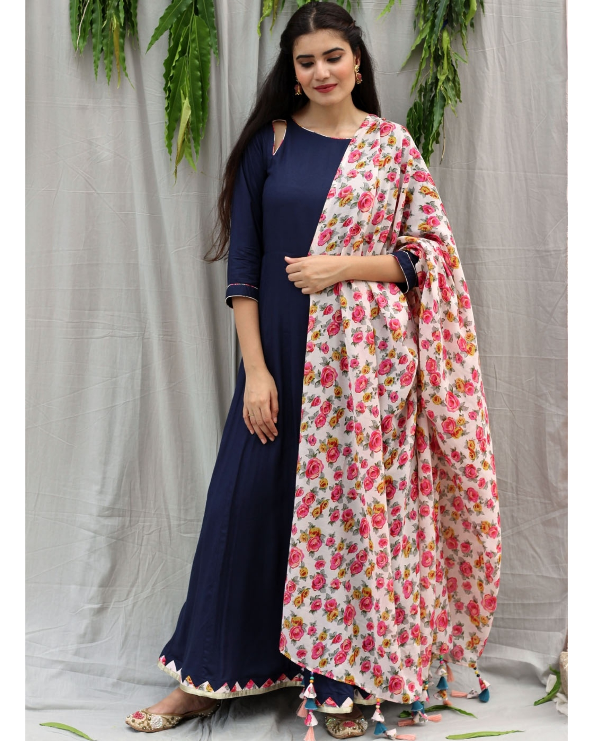 Navy blue flared dress with dupatta - set of two