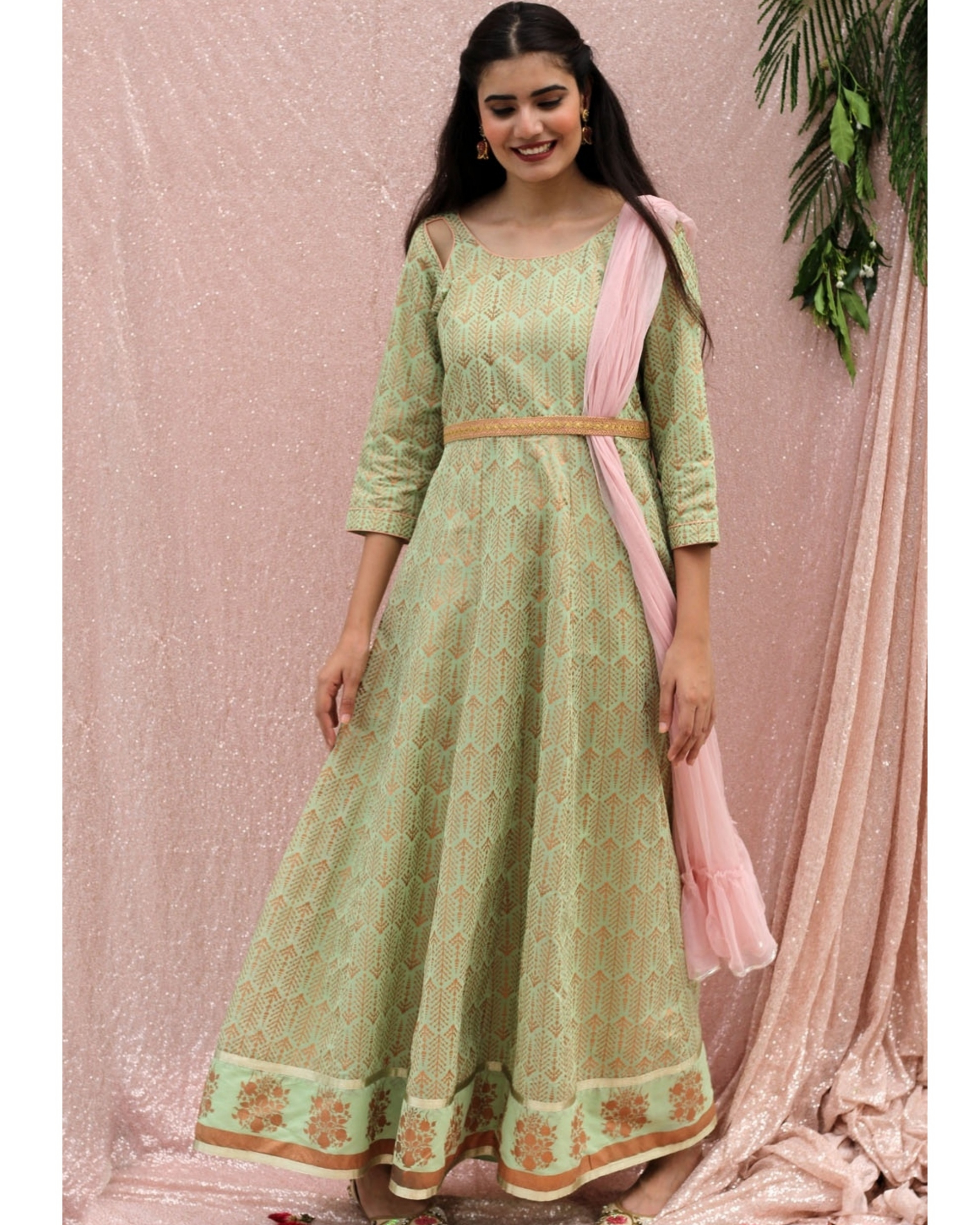 Sea green flared dress with dupatta - set of two